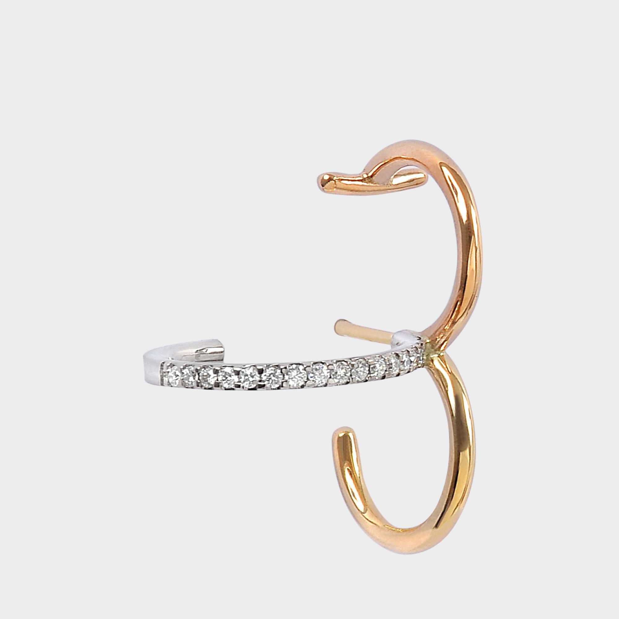 Charlotte Chesnais Saturn S Mono Earring in Yellow and White 18K Gold and Diamonds tGC12CM3