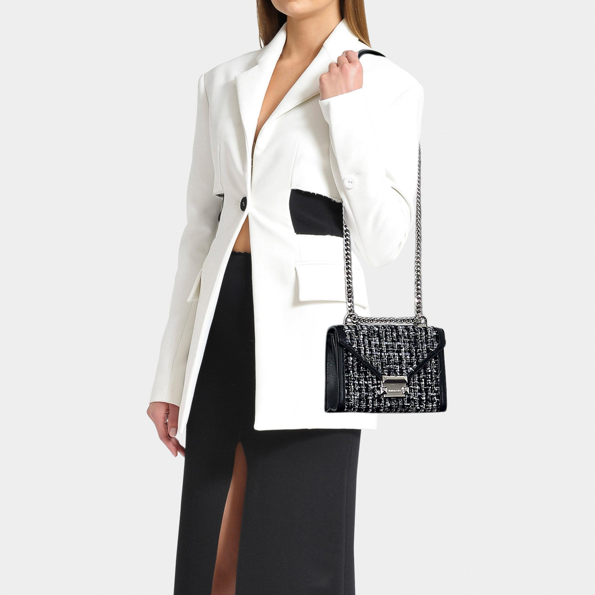 13f45bf4ef3f65 MICHAEL Michael Kors Whitney Small Shoulder Bag In Black Tweed in ...