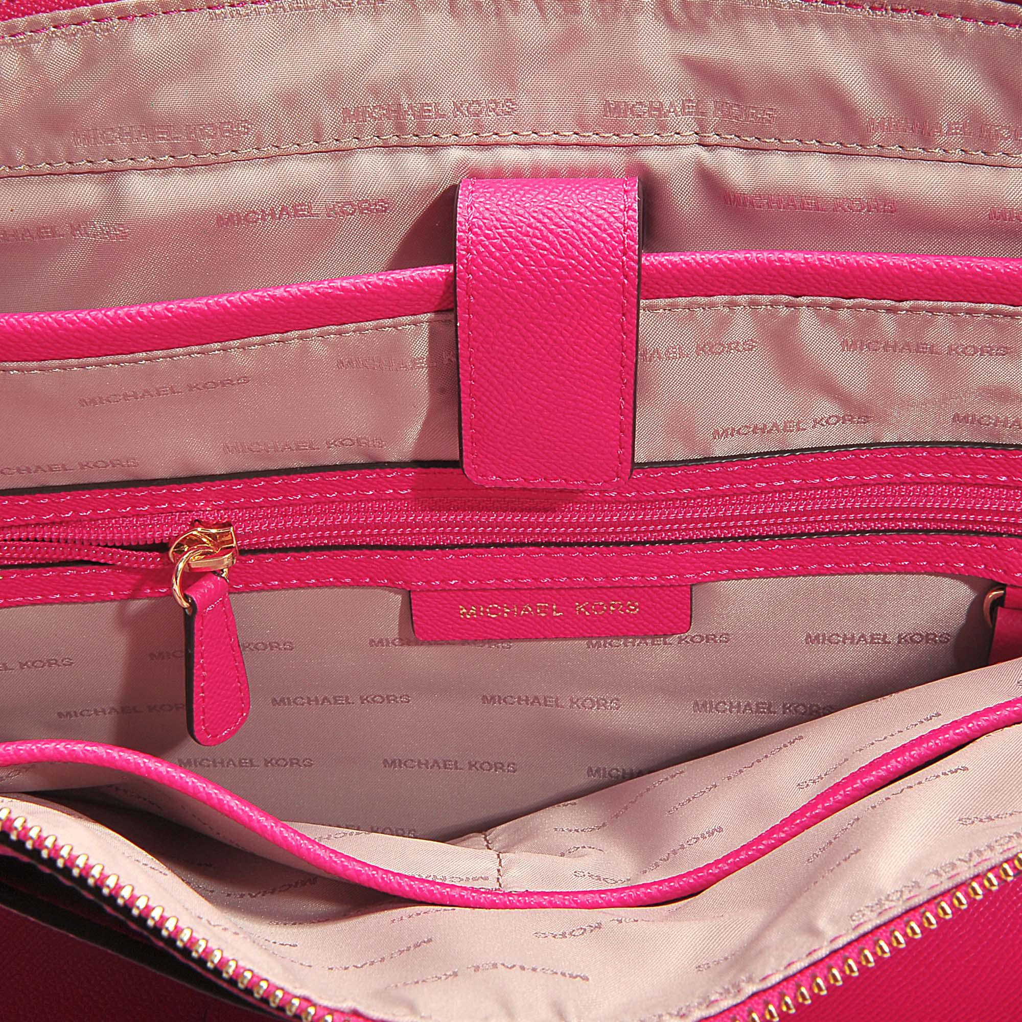 MICHAEL Michael Kors. Women s Mott Medium East-west Top Zip Tote Bag In Ultra  Pink Crossgrain Leather 47ece5a780