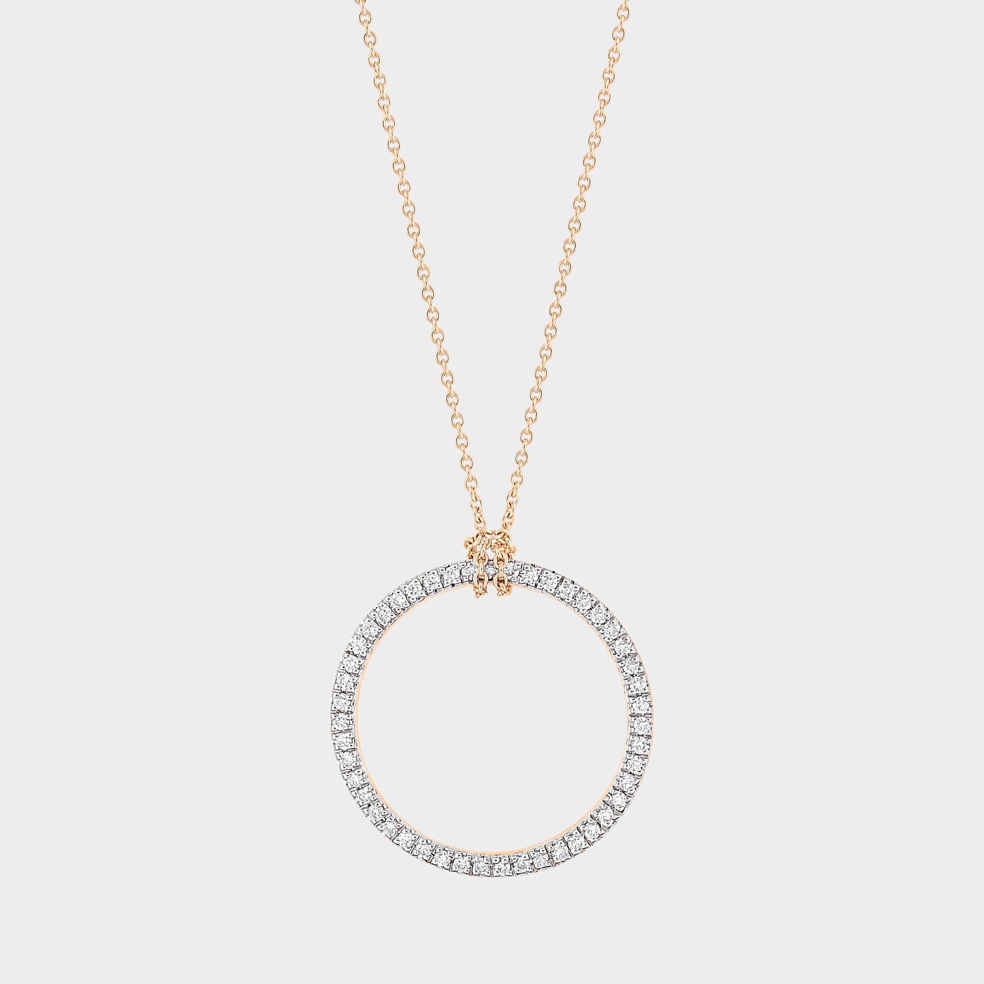 Baby Diamond Circle 18-karat rose gold necklace Ginette NY qDFTy
