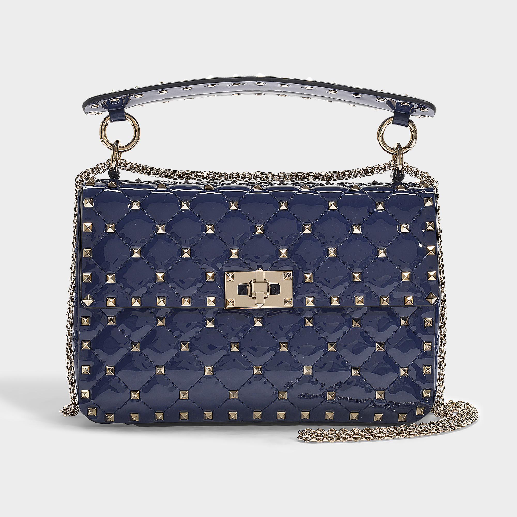 2af948002b6 Valentino - Blue Rockstud Spike Medium Shoulder Bag In Navy Patent Calfskin  - Lyst. View fullscreen