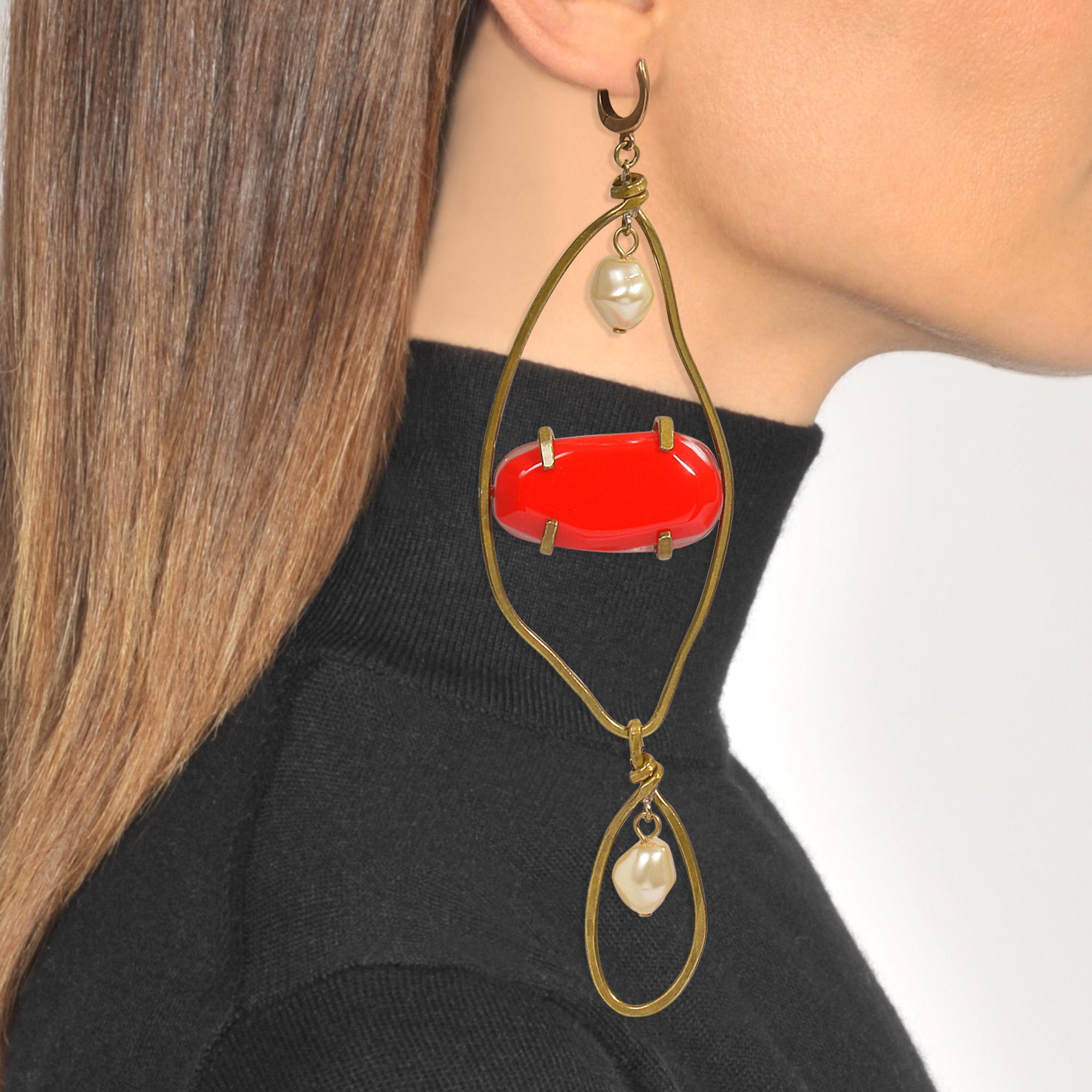 Marni Mono Earring in Red Resin khqK9f0