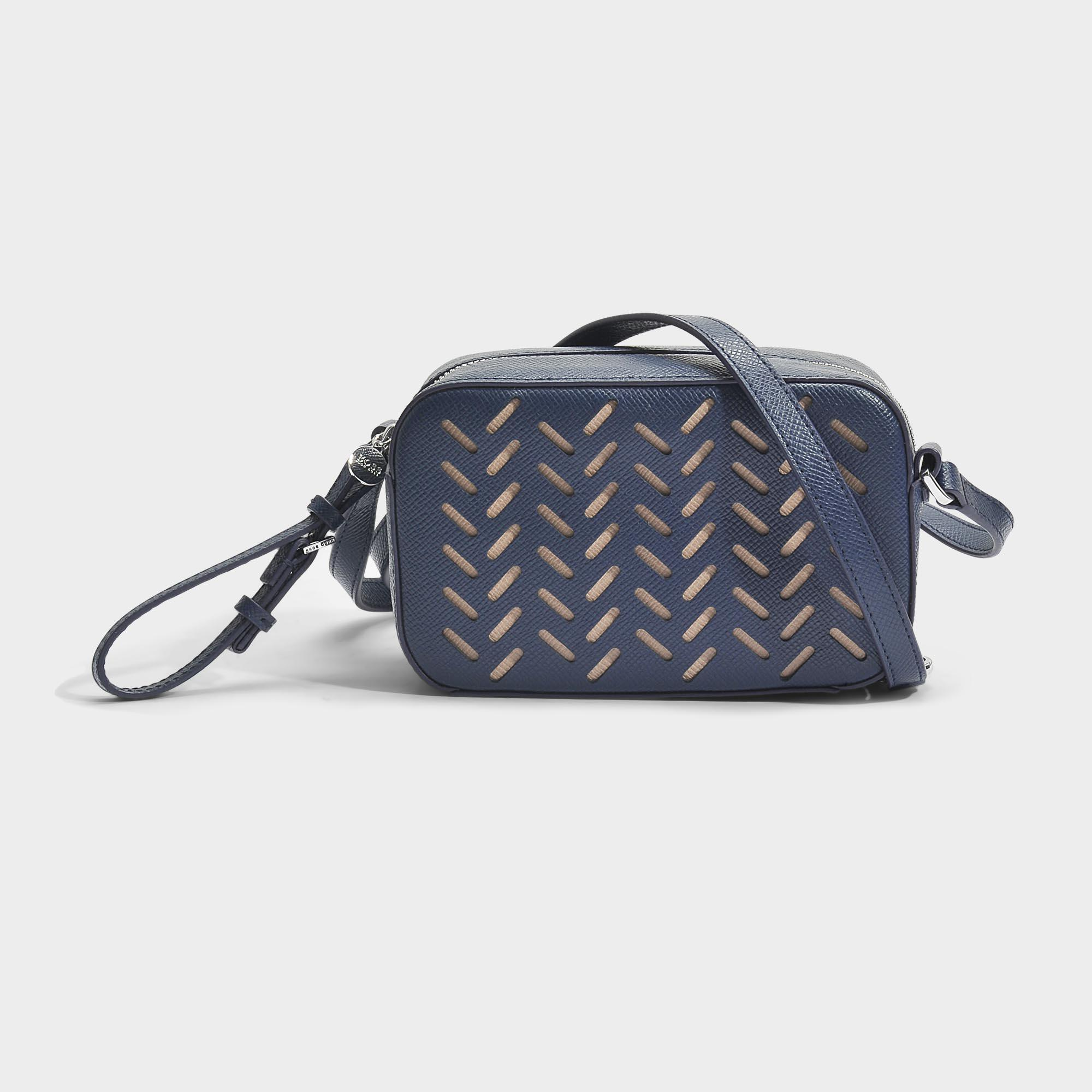 Taylor Lasered Crossbody Bag in Medium Blue Lasered Saffiano Printed Calfskin HUGO BOSS