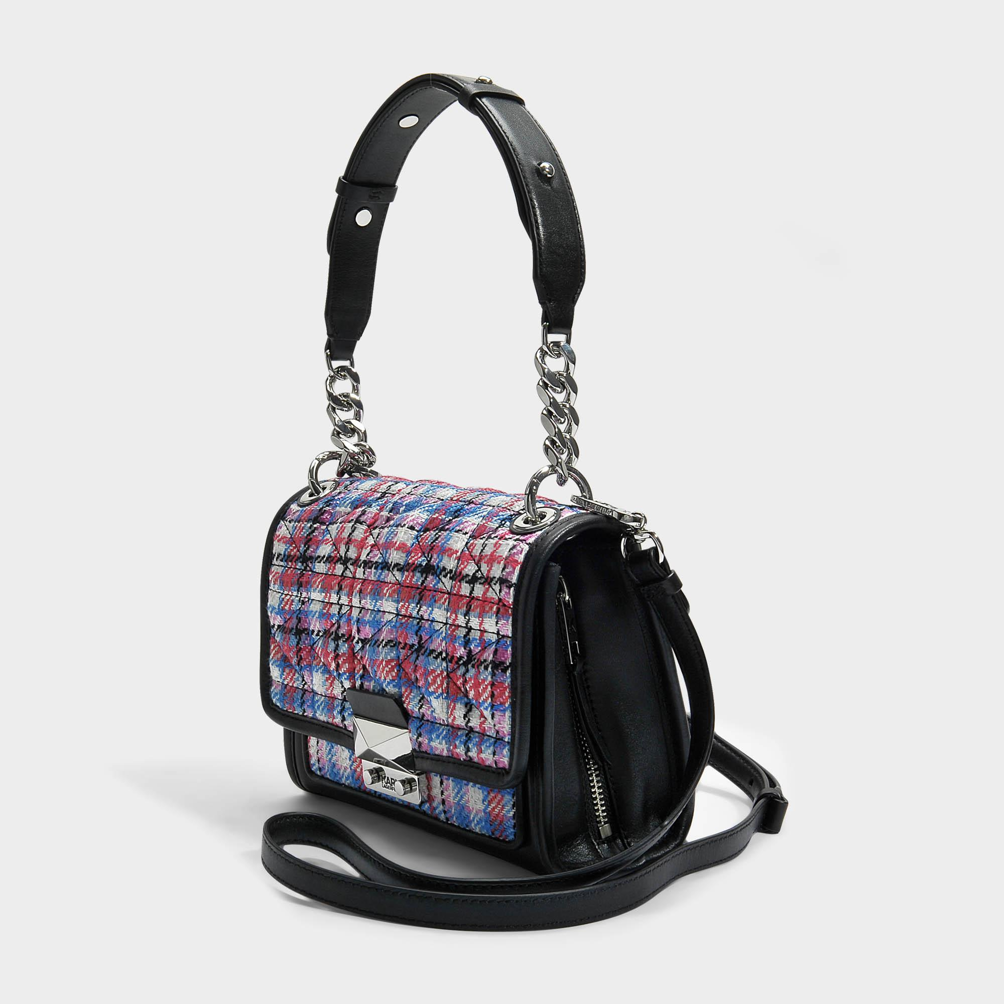 K/Kuilted Tweed Effect Raffia Mini Tote Bag in Multicolour Calf and Raffia Karl Lagerfeld yYdPg4ScAk