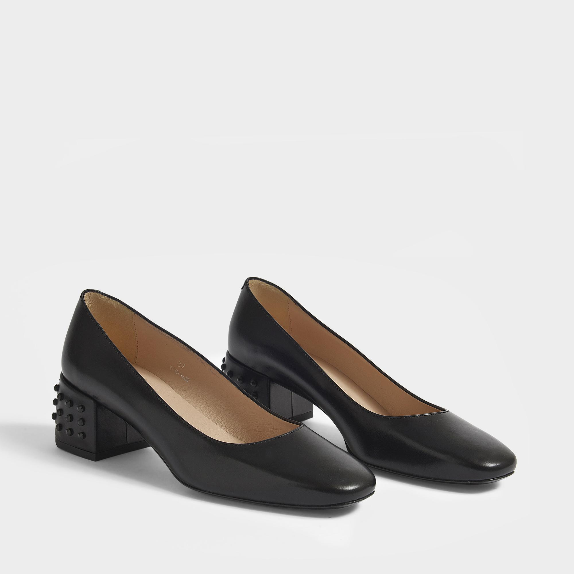 Gommino Heeled Pumps in Black Calfskin and Rubber Tod's t2goAxy6e