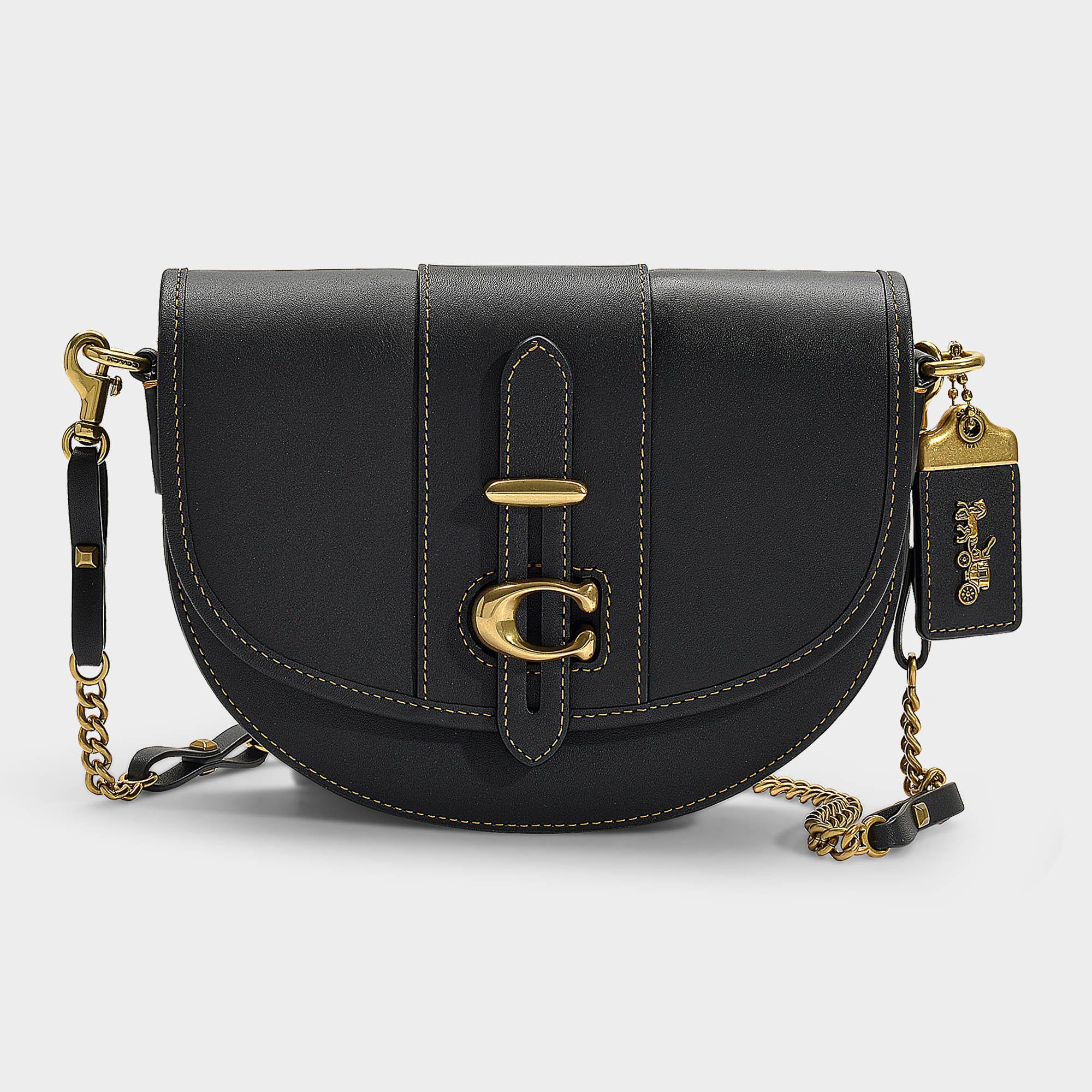 598769c9d4fd Lyst - COACH Saddle Bag 20 In Black Glovetanned Leather in Black