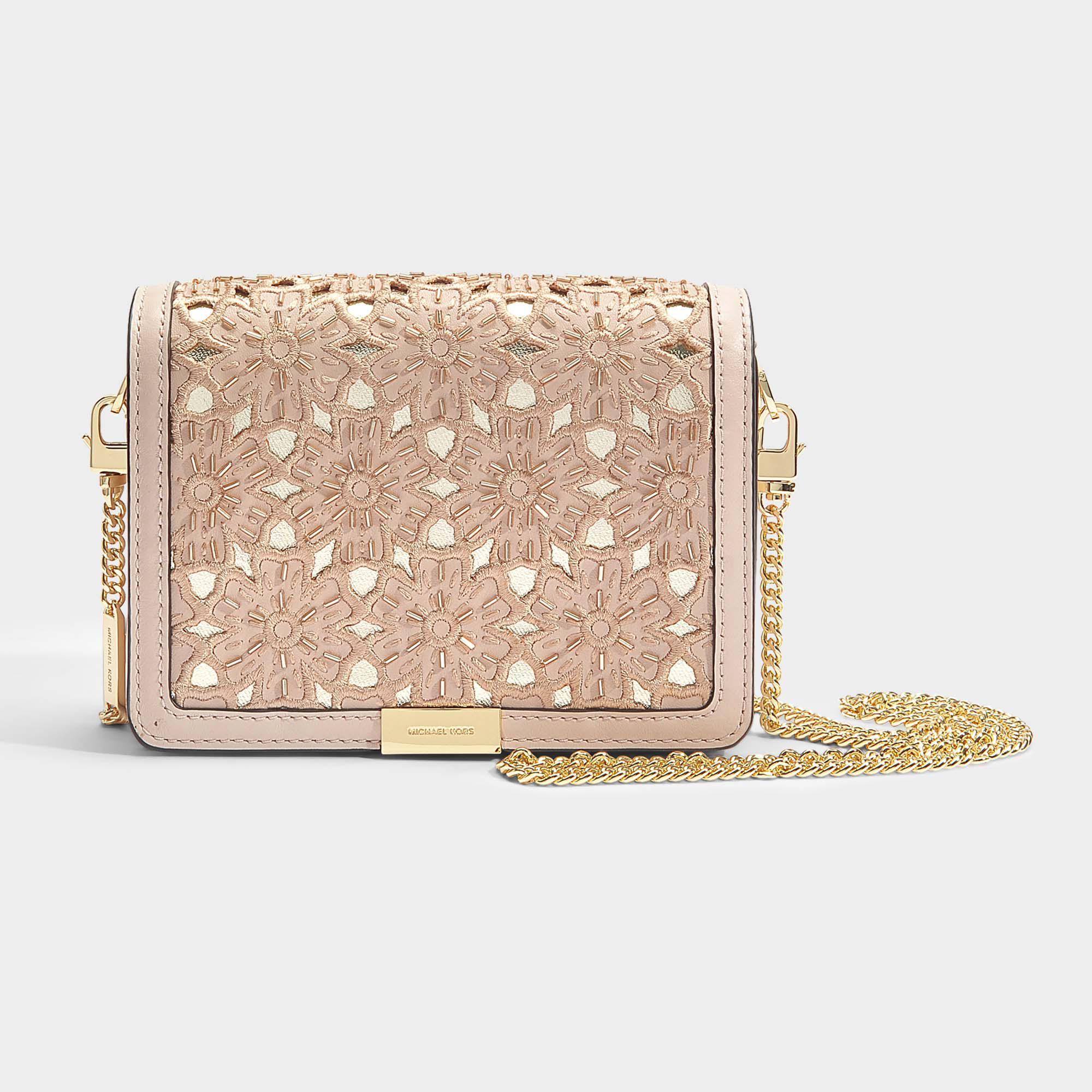 3f32f2dad702 Lyst - MICHAEL Michael Kors Jade Medium Gusset Clutch In Soft Pink ...