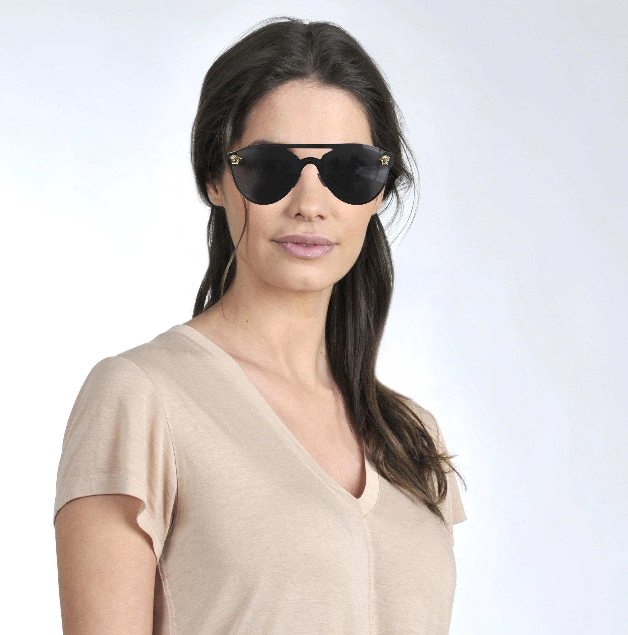 a7e1fb770a Lyst - Versace Glam Medusa Sunglasses In Black Metal