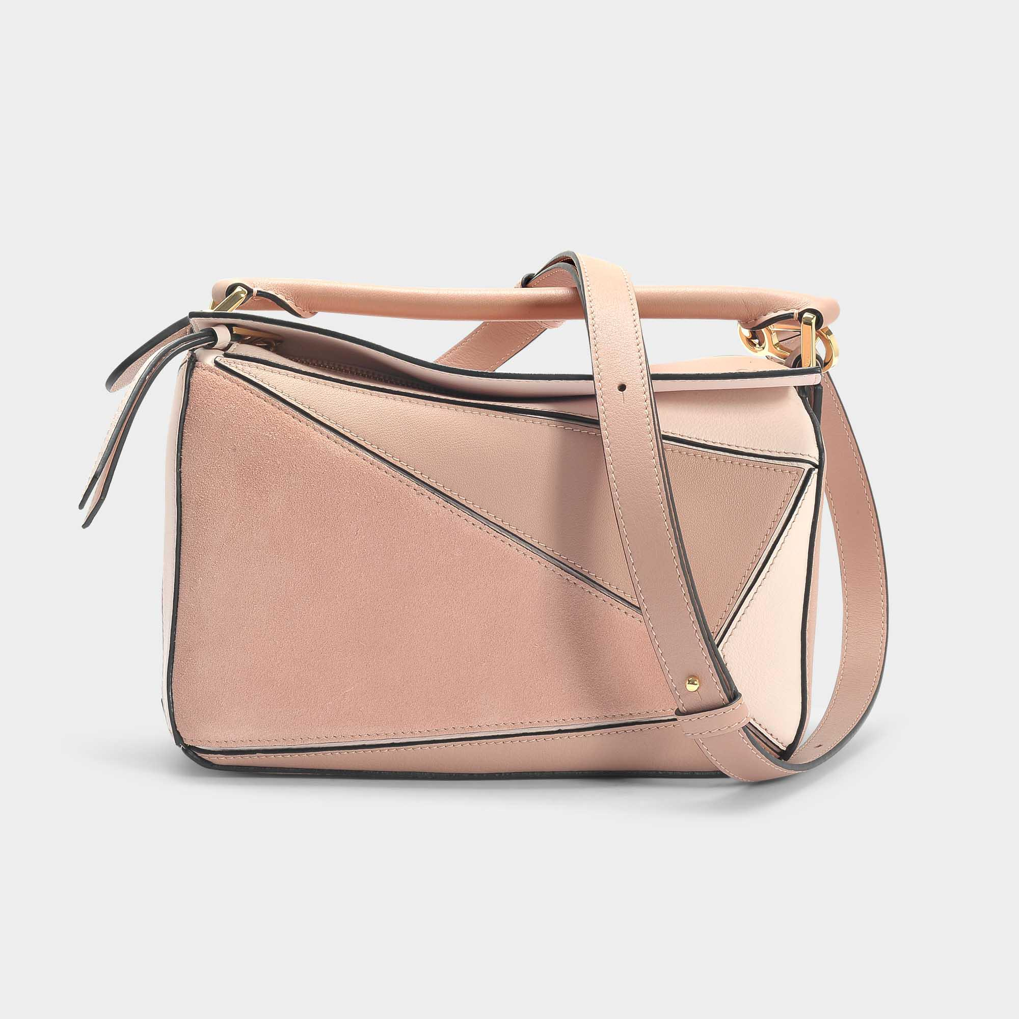 016d3279923c0 Loewe Puzzle Small Bag In Blush Multitone Suede And Classic Calfskin ...