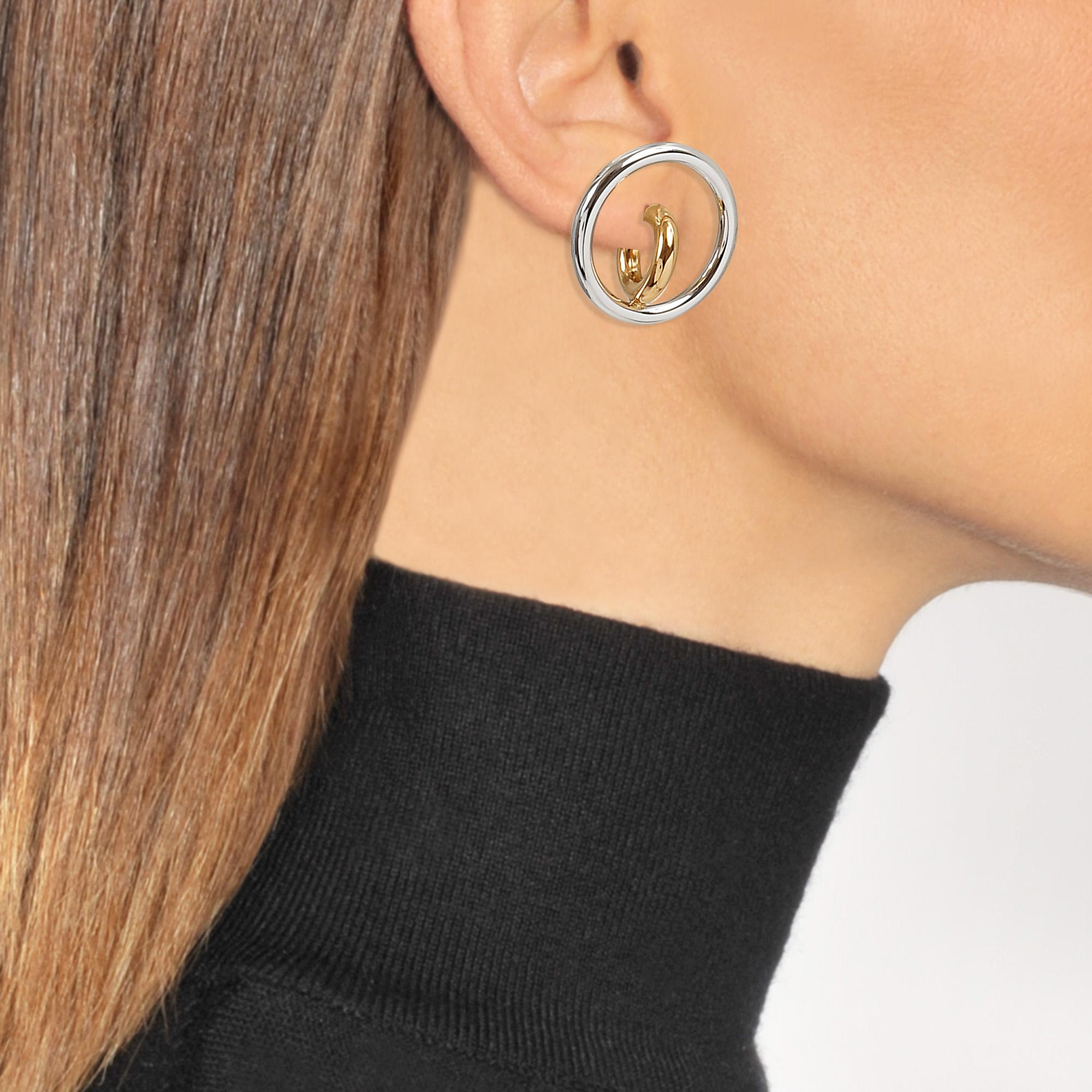 Charlotte Chesnais Saturn Blow M Mono Earring in Yellow Vermeil and Silver KrWfBr1