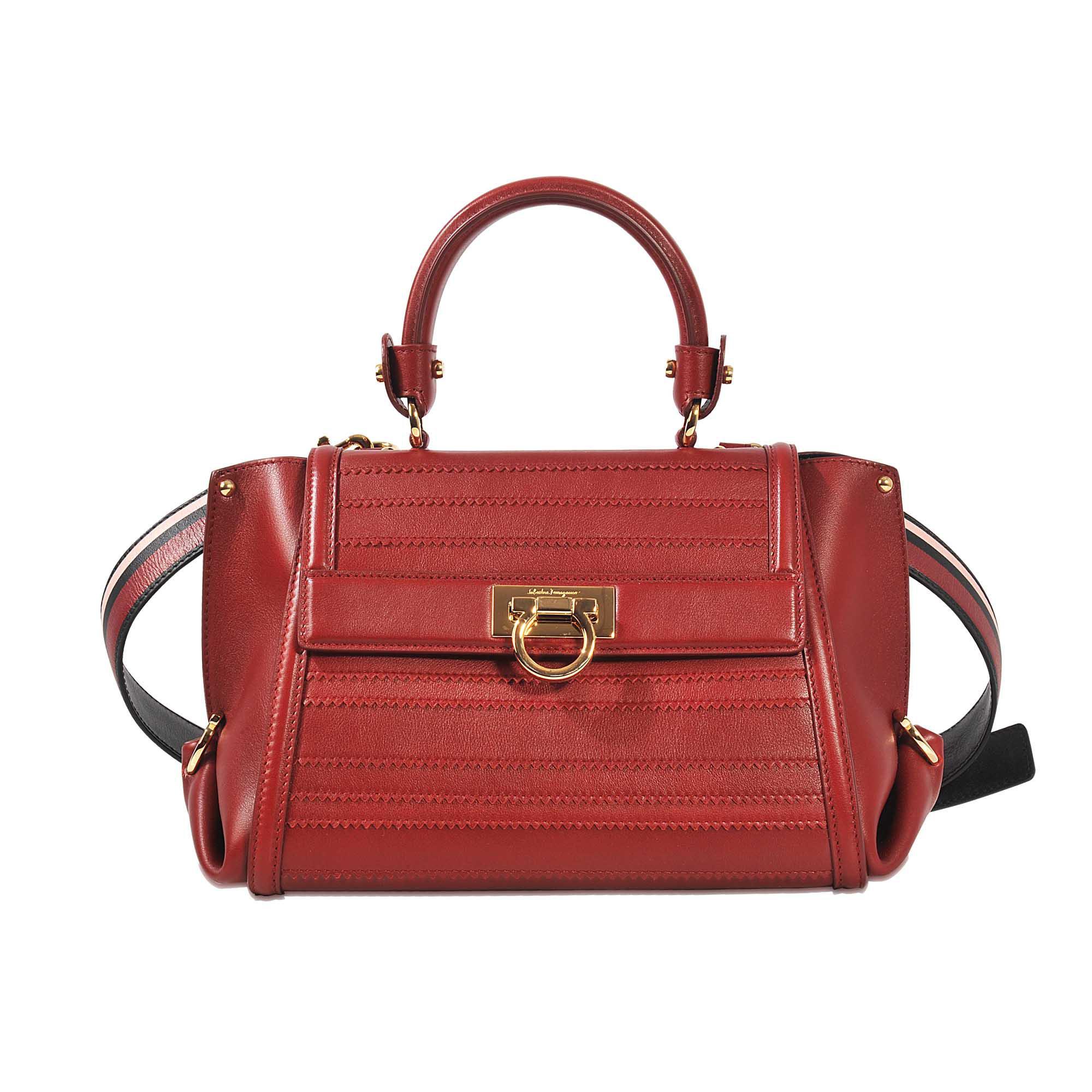 4d1a73108df5 Ferragamo Sofia Small Stitched Bag in Red - Lyst