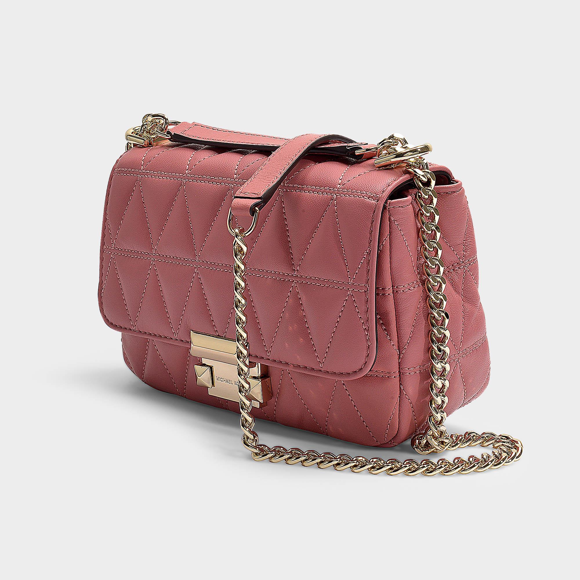 c1d5b3f6f5d MICHAEL Michael Kors - Pink Sloan Small Chain Shoulder Bag In Rose Quilted  Lambskin - Lyst. View fullscreen