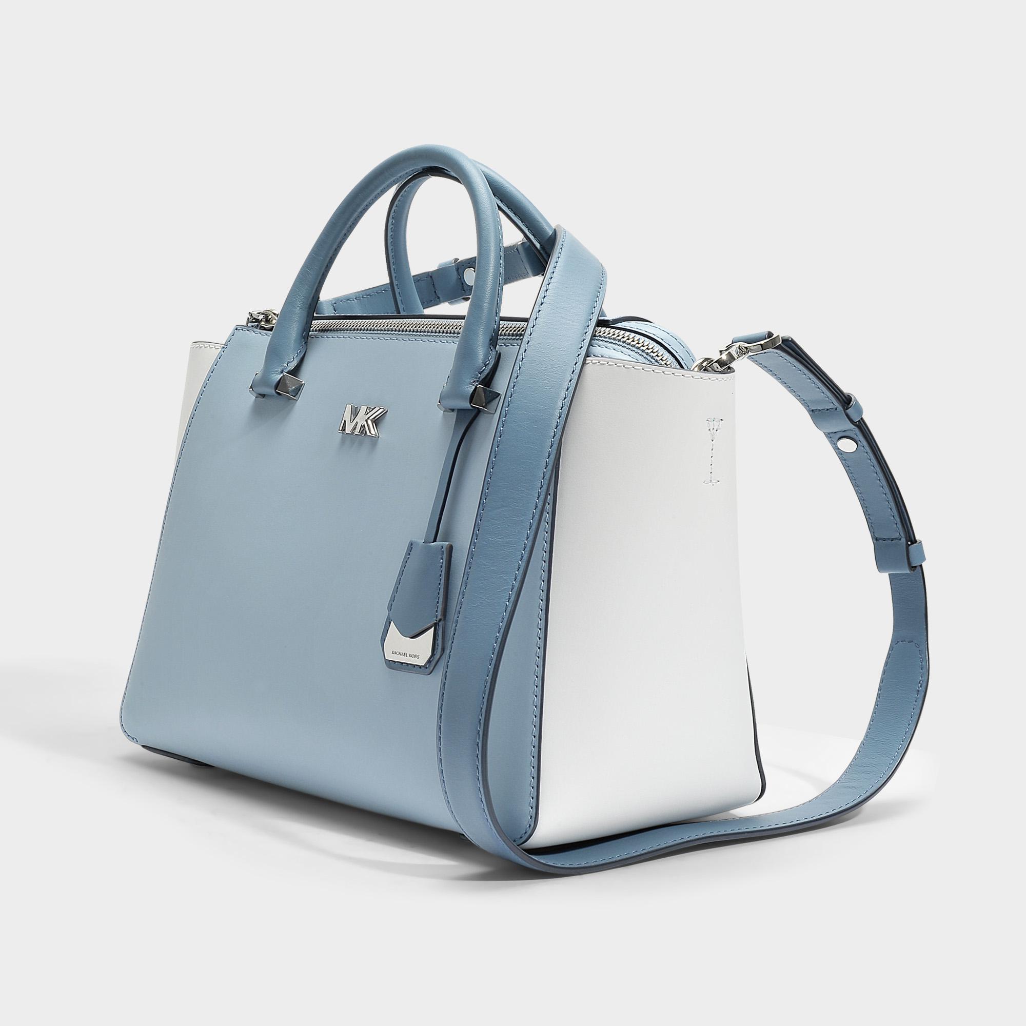 0610f55de5d6c8 MICHAEL Michael Kors Nolita Medium Satchel Bag In White And Blue ...