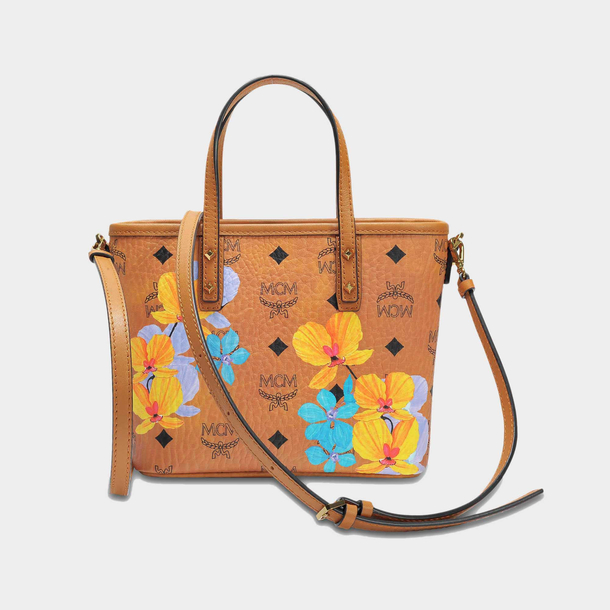4767fa602 MCM Flower Mini Crossbody Bag In Cognac Coated Cotton - Lyst