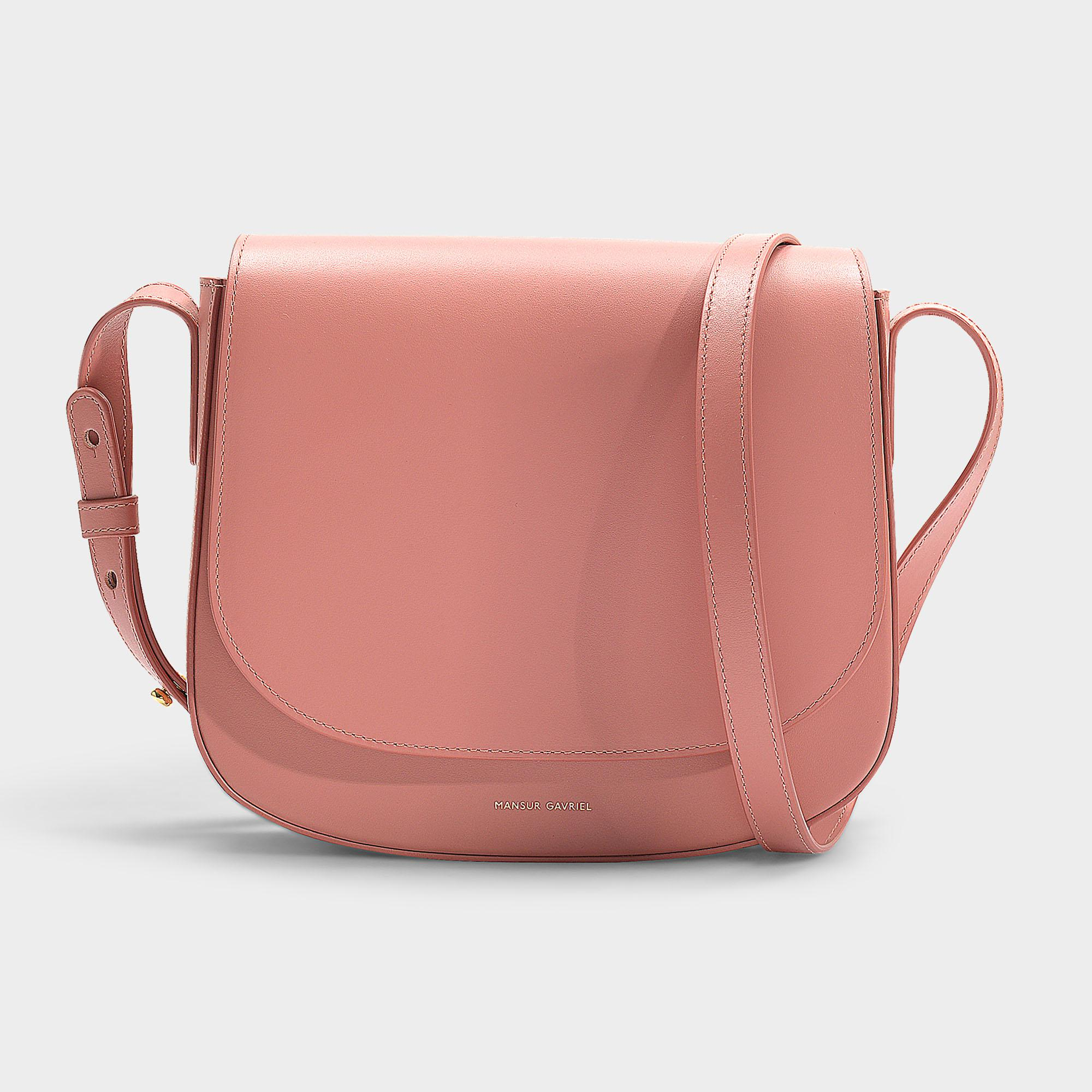 Mansur Gavriel Crossbody Bag In Blush Calfskin And Canvas in Pink - Lyst 34615cbc9a