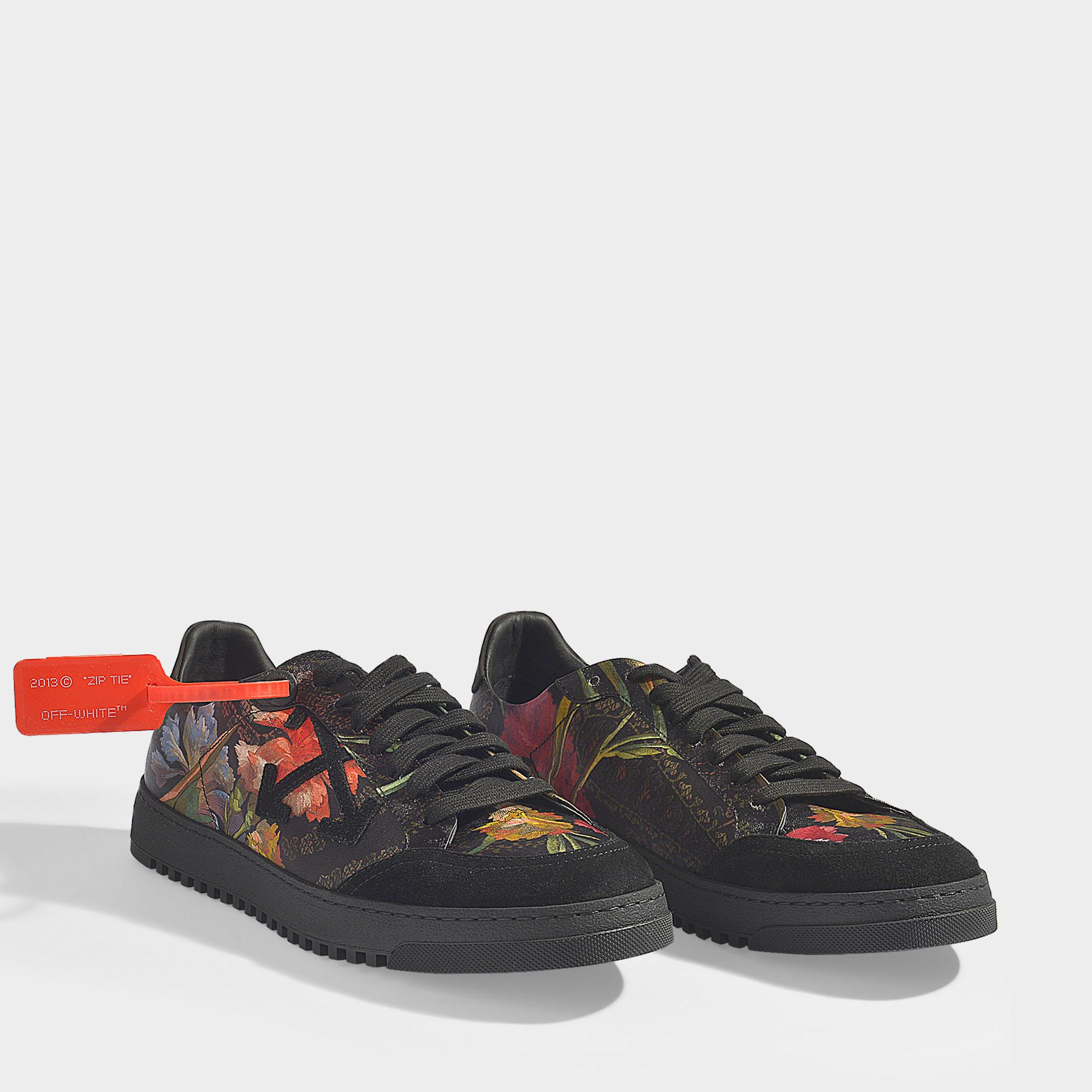 b75c7a2781b8 Off-White c o Virgil Abloh Scarf Sneakers In Black Leather And Silk ...