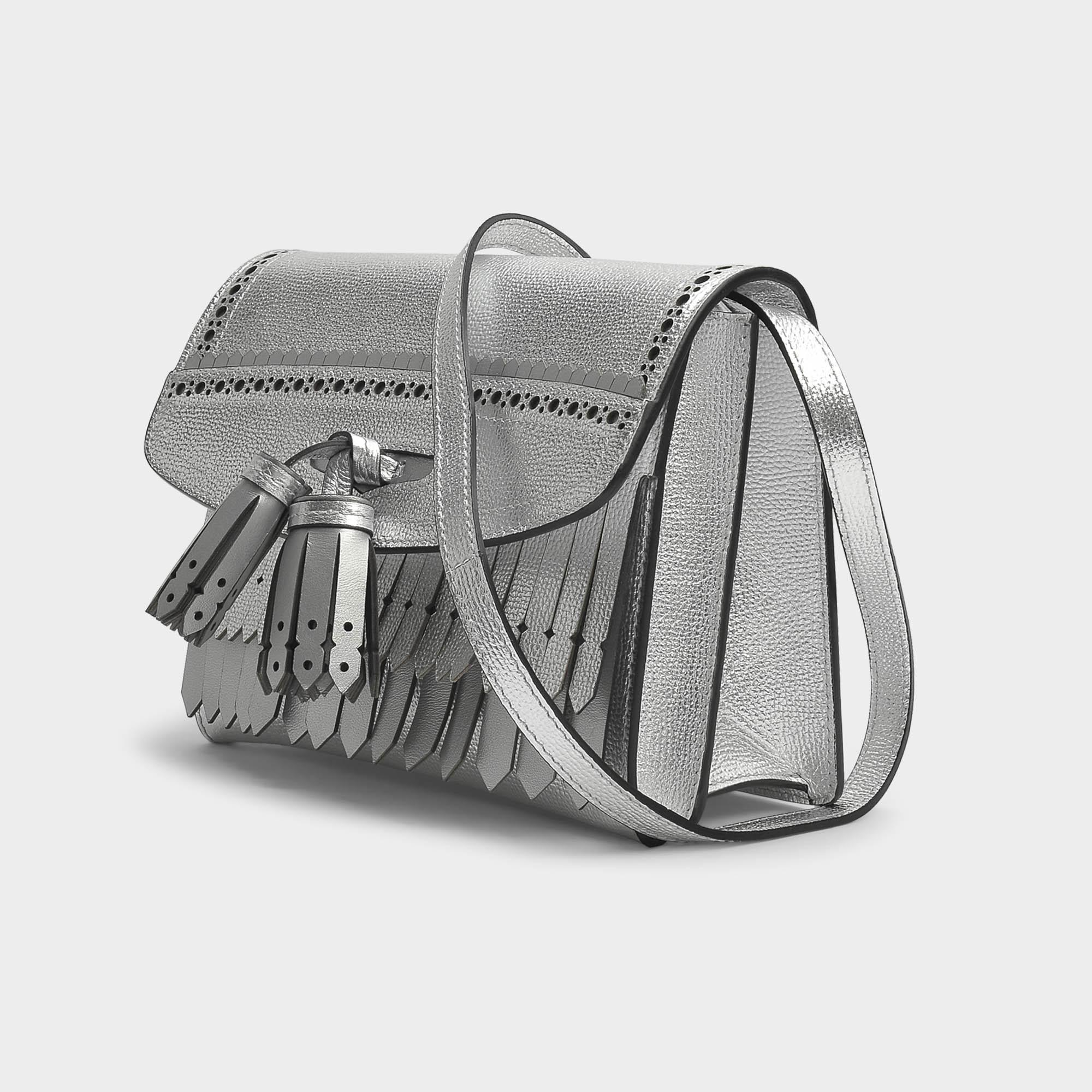Lyst - Burberry Small Macken Crossbody Bag In Silver Metallic Calfskin cc0dc338ea509