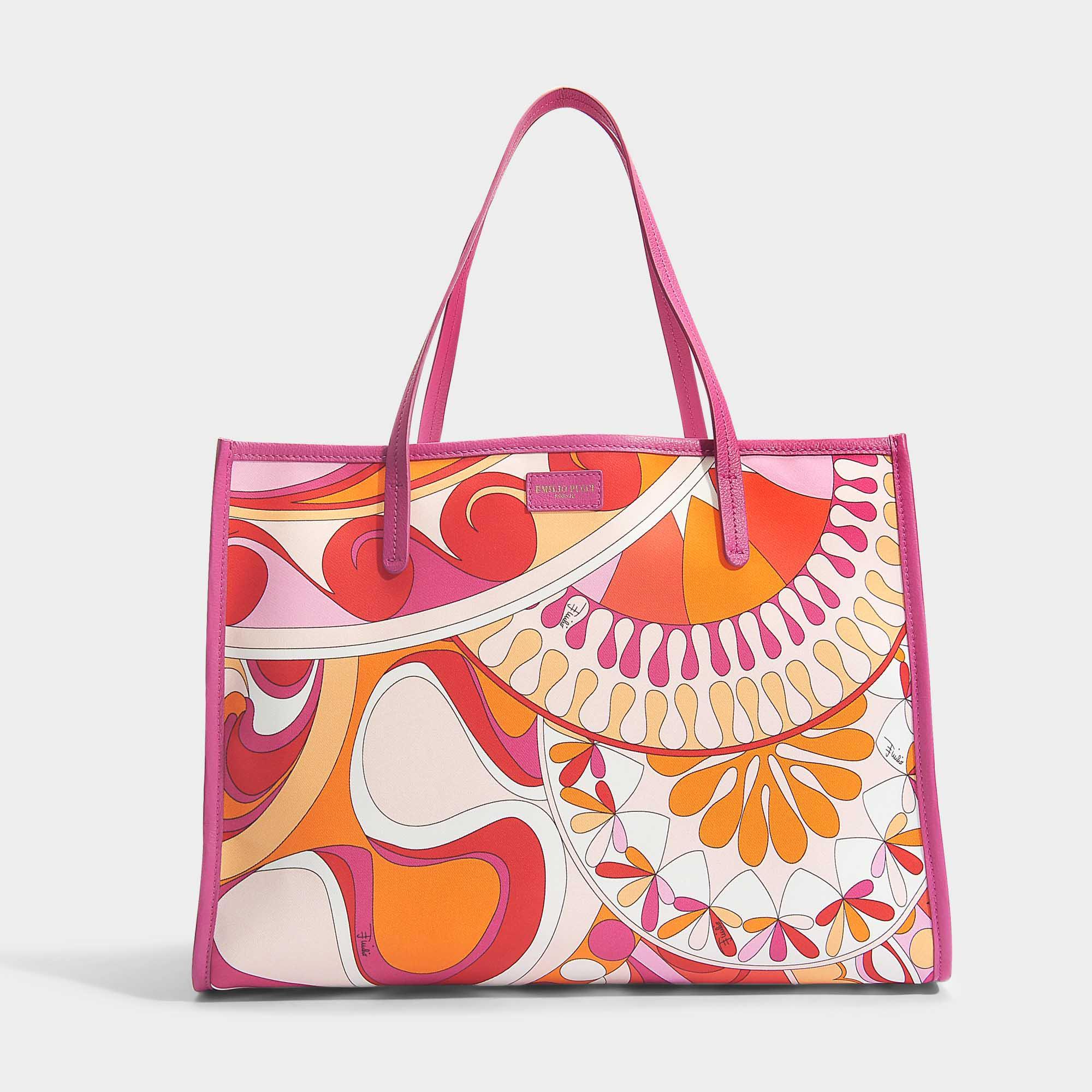 Capri Tote Bag in Orange Printed Nylon Emilio Pucci S4RNJt5rq2
