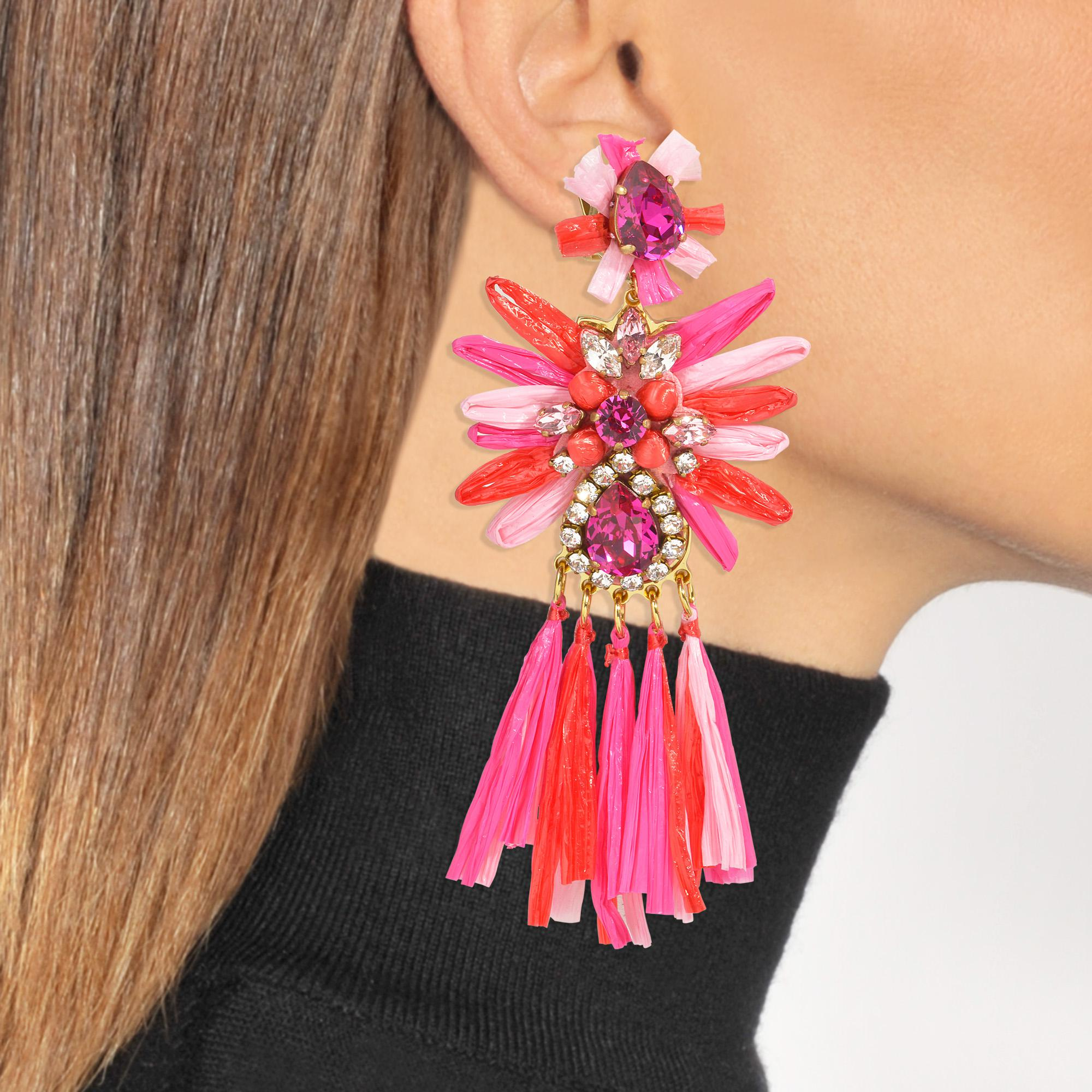 Shourouk Sicily Multi Earrings in Multi Brass, Raffia and Swarovski Crystals