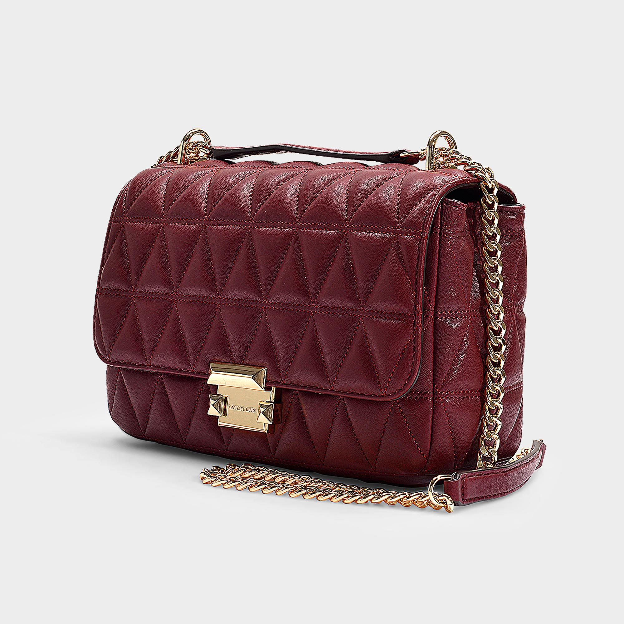 fb6e4cb7e170e MICHAEL Michael Kors - Multicolor Sloan Large Chain Shoulder Bag In  Burgundy Quilted Lambskin - Lyst. View fullscreen