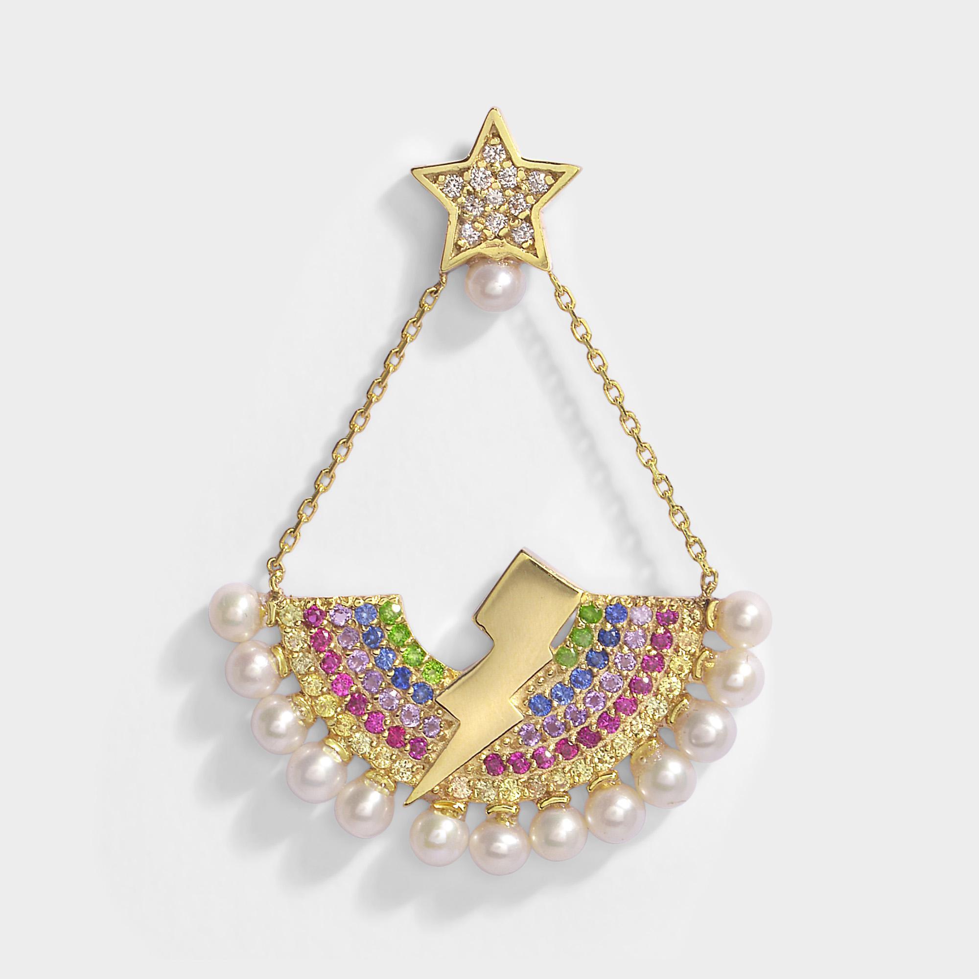 Heart Eating Star Mono Earring in 14K Gold and Diamonds Anton Heunis 8DAw9h