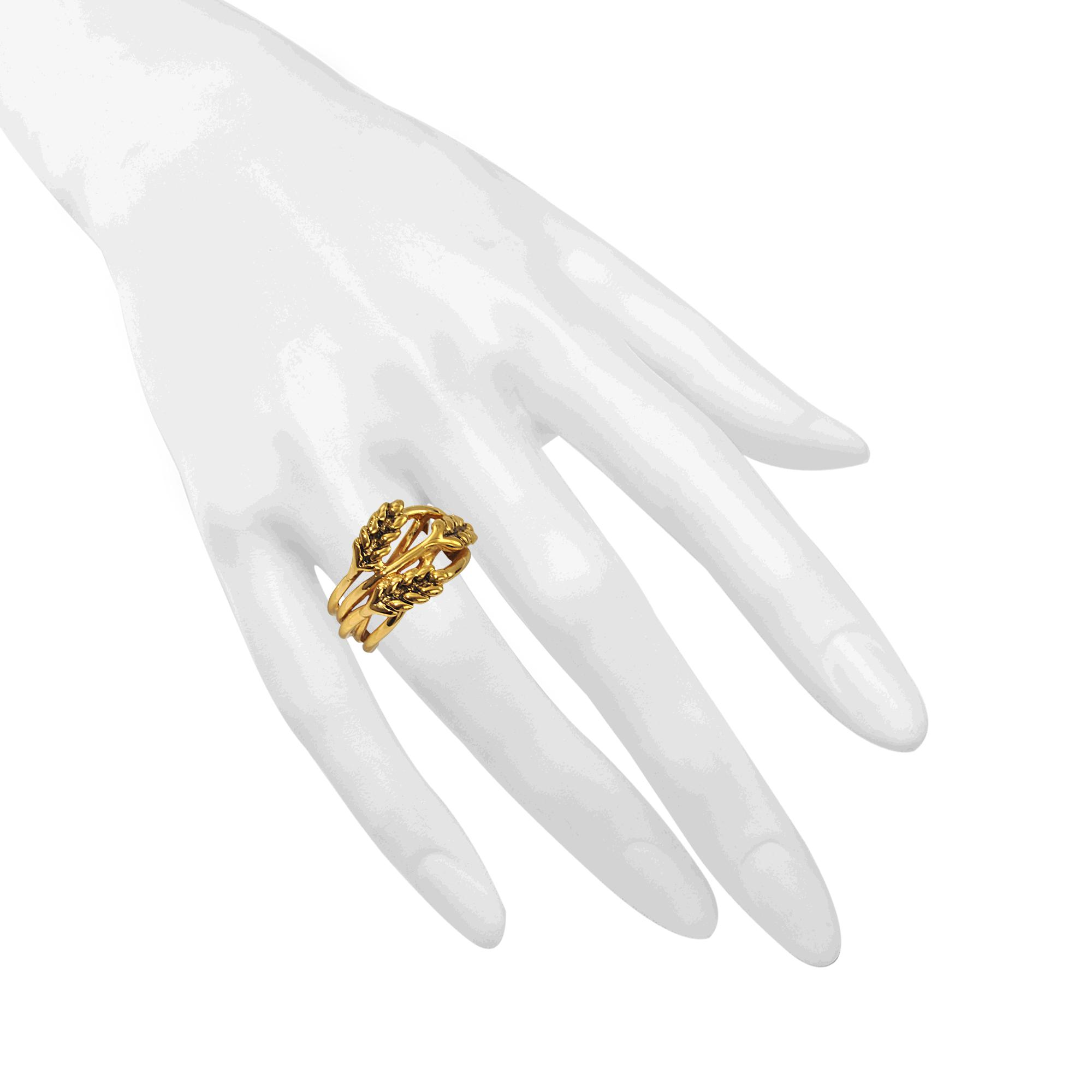 Large Wheat Ring in 18K Gold-Plated Brass Aurélie Bidermann RqhTzr3YU