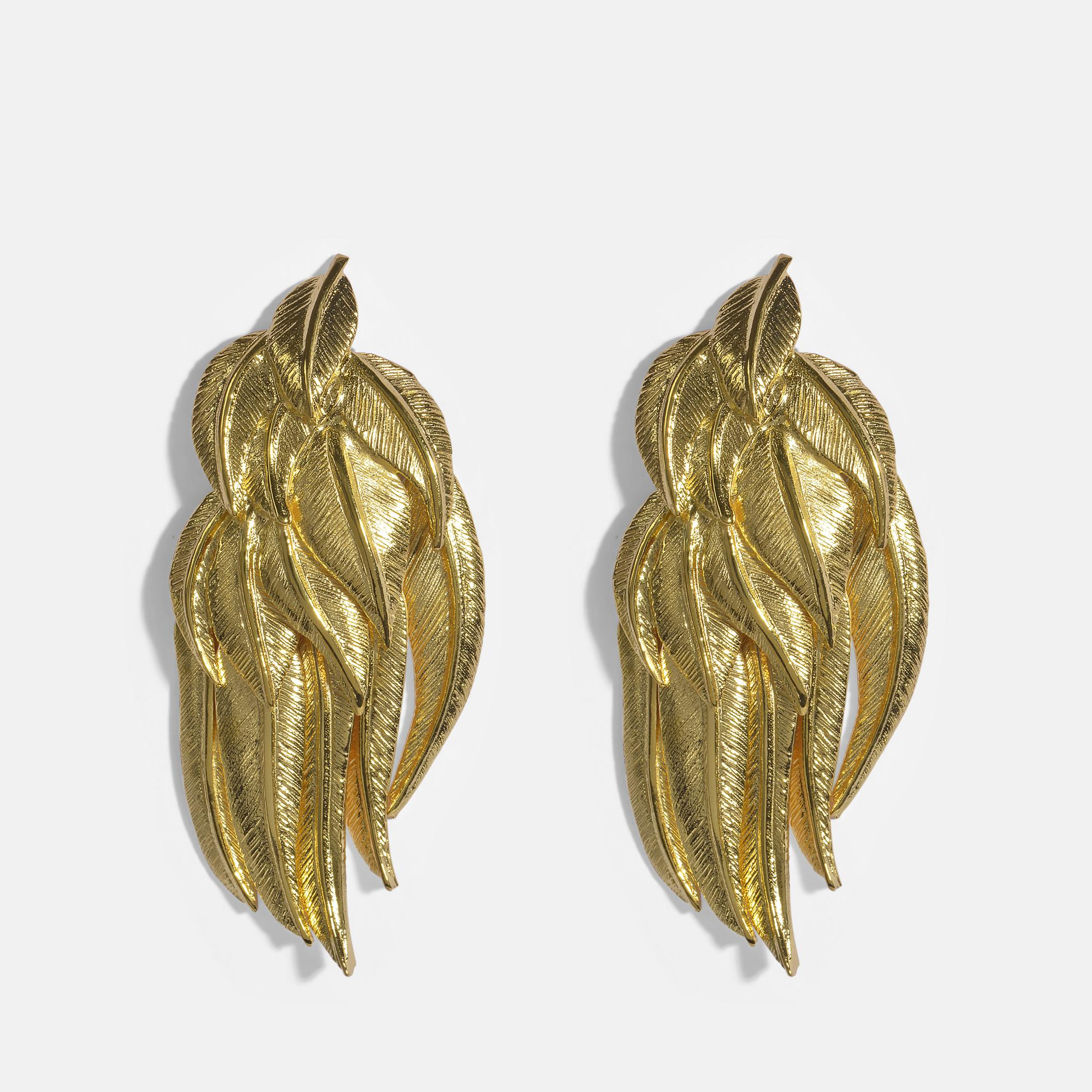 Aurélie Bidermann Elvira Feathers Clip Earrings in 18K Gold-Plated Brass XZGLIJb