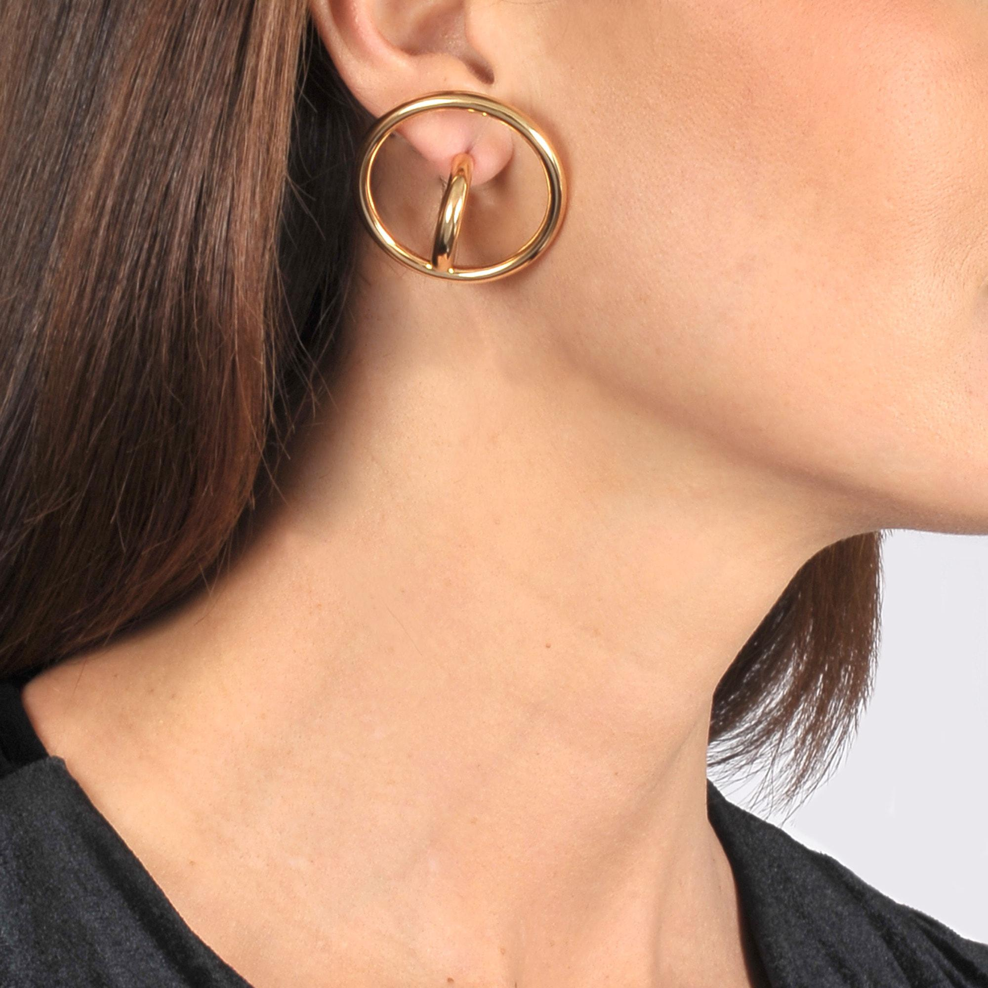 Charlotte Chesnais Saturn Blow L Mono Earring in Yellow Vermeil