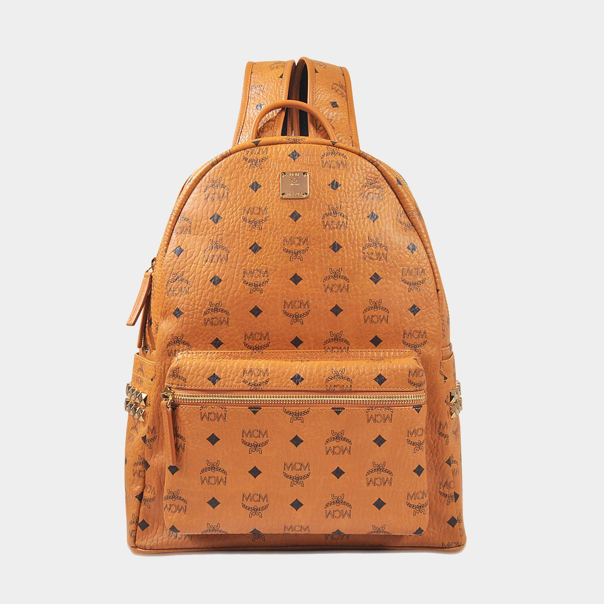 6e908ee1c56cc Lyst - MCM Stark Medium Backpack in Cognac Coated Canvas in Braun