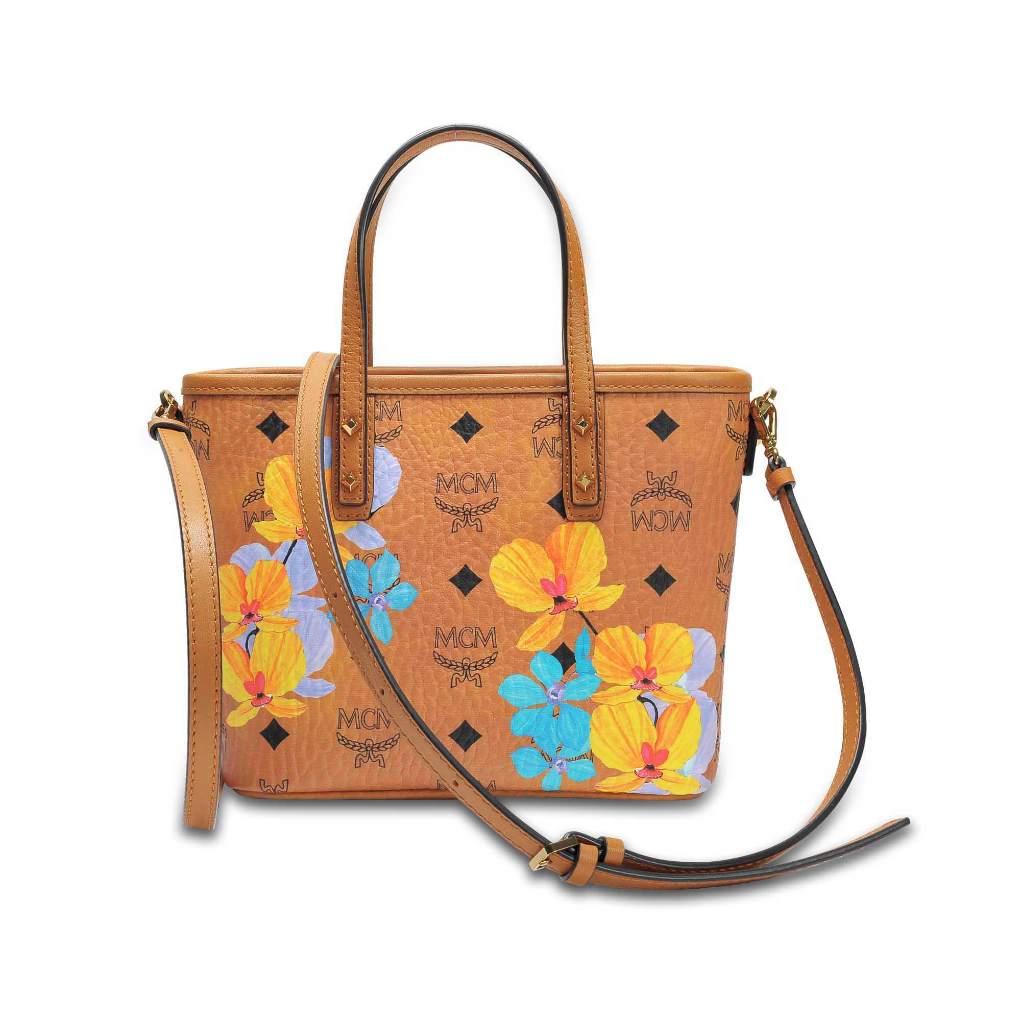 Flower Mini Crossbody Bag in Cognac Coated Cotton MCM