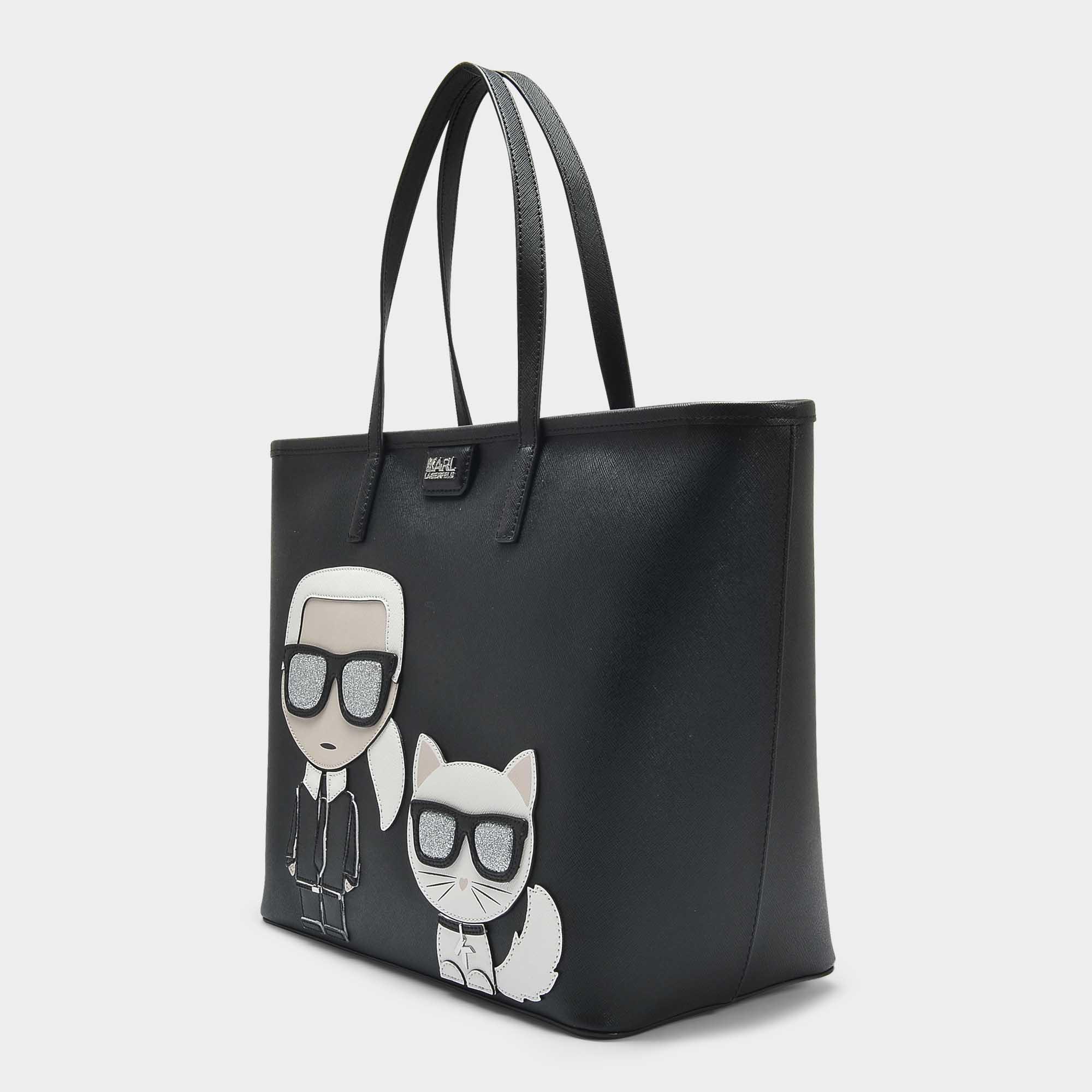 K/Ikonik Shopper Bag in Black Technical Saffiano Karl Lagerfeld O2ROVn