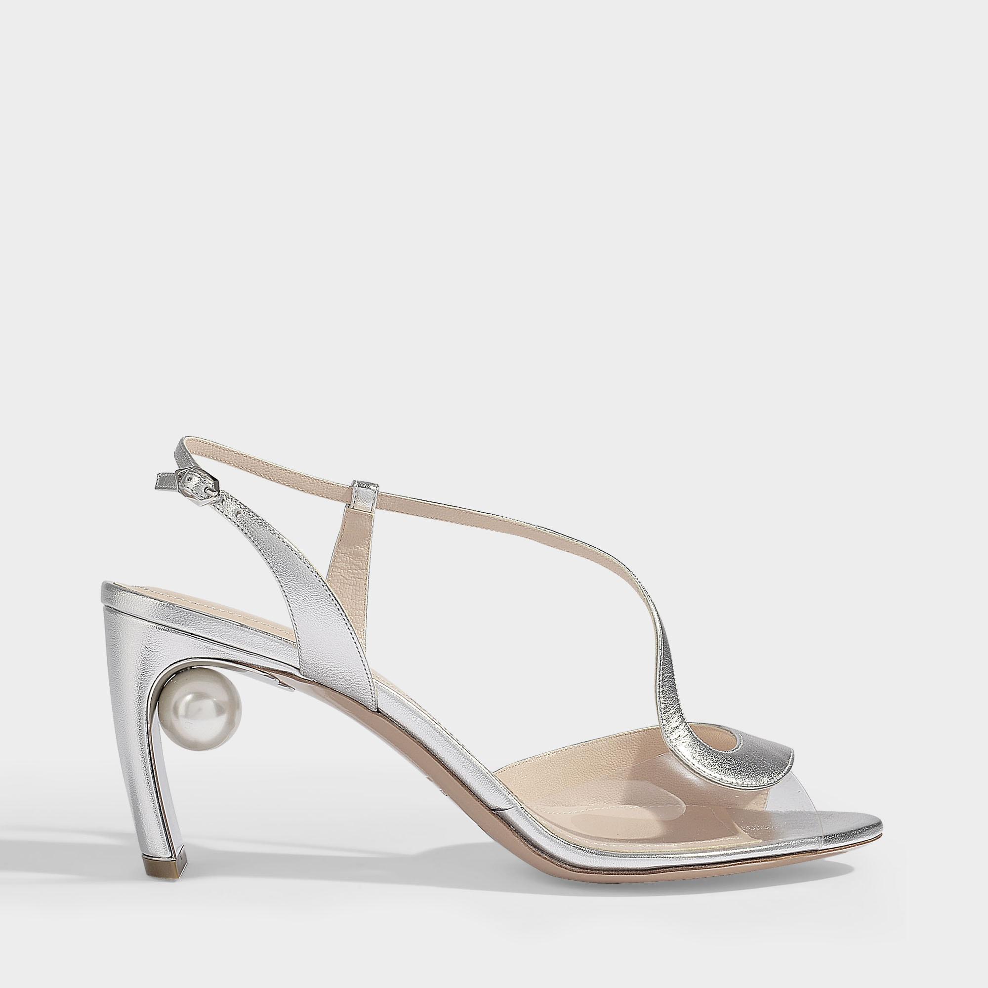 f7e0166aead0 Nicholas Kirkwood. Women s 70mm Maeva Pearl S Sandals In Silver Metallic  Nappa Leather