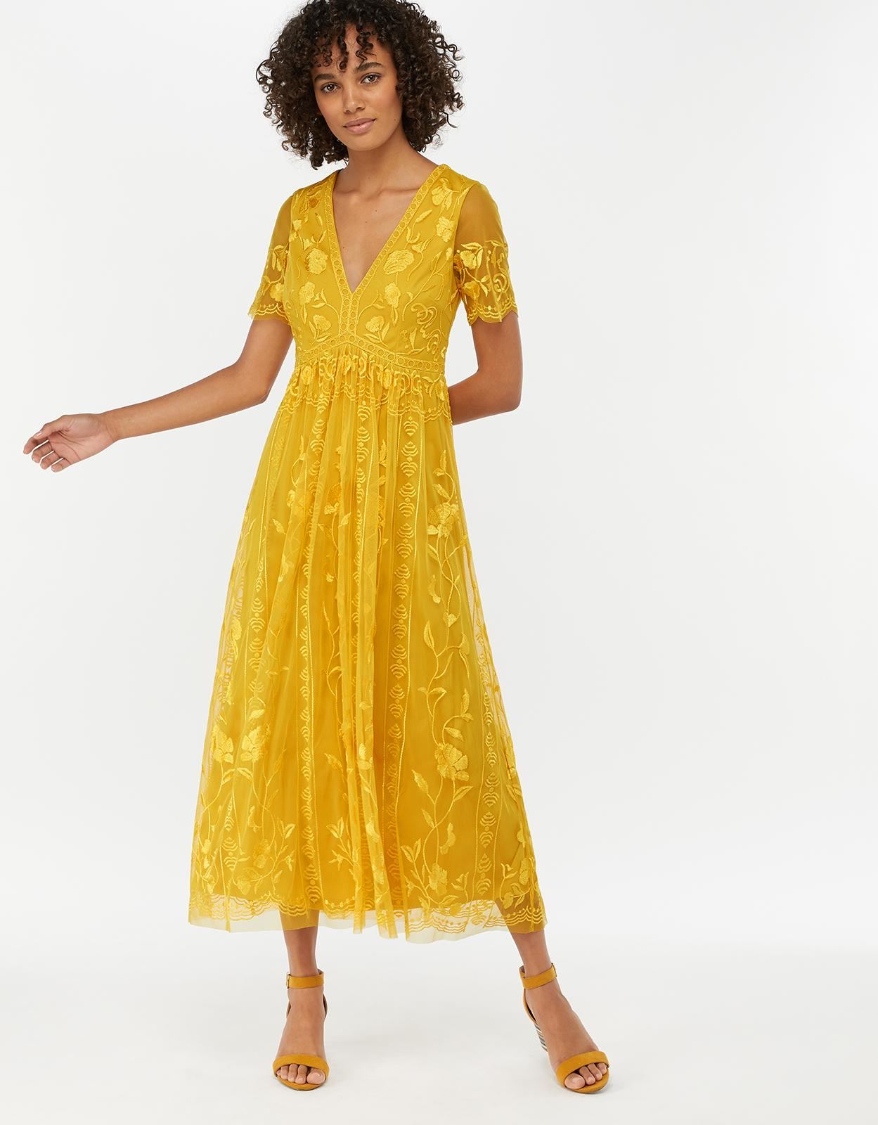 5b3dc1381fe Monsoon Valentina Embroidered Midi Dress in Yellow - Lyst