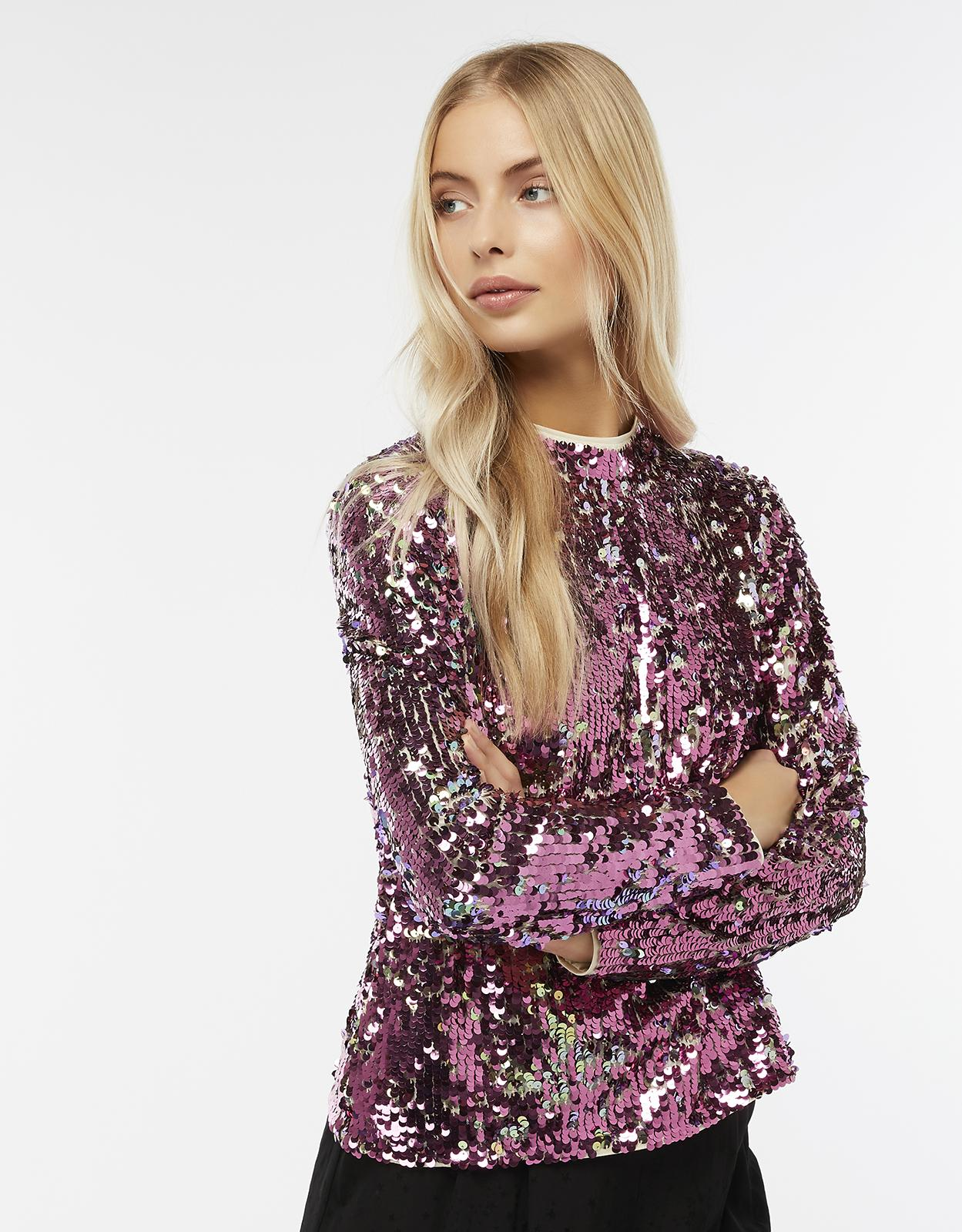 c297aaa6e908f8 Monsoon Cecily Sequin Long Sleeve Top in Pink - Lyst