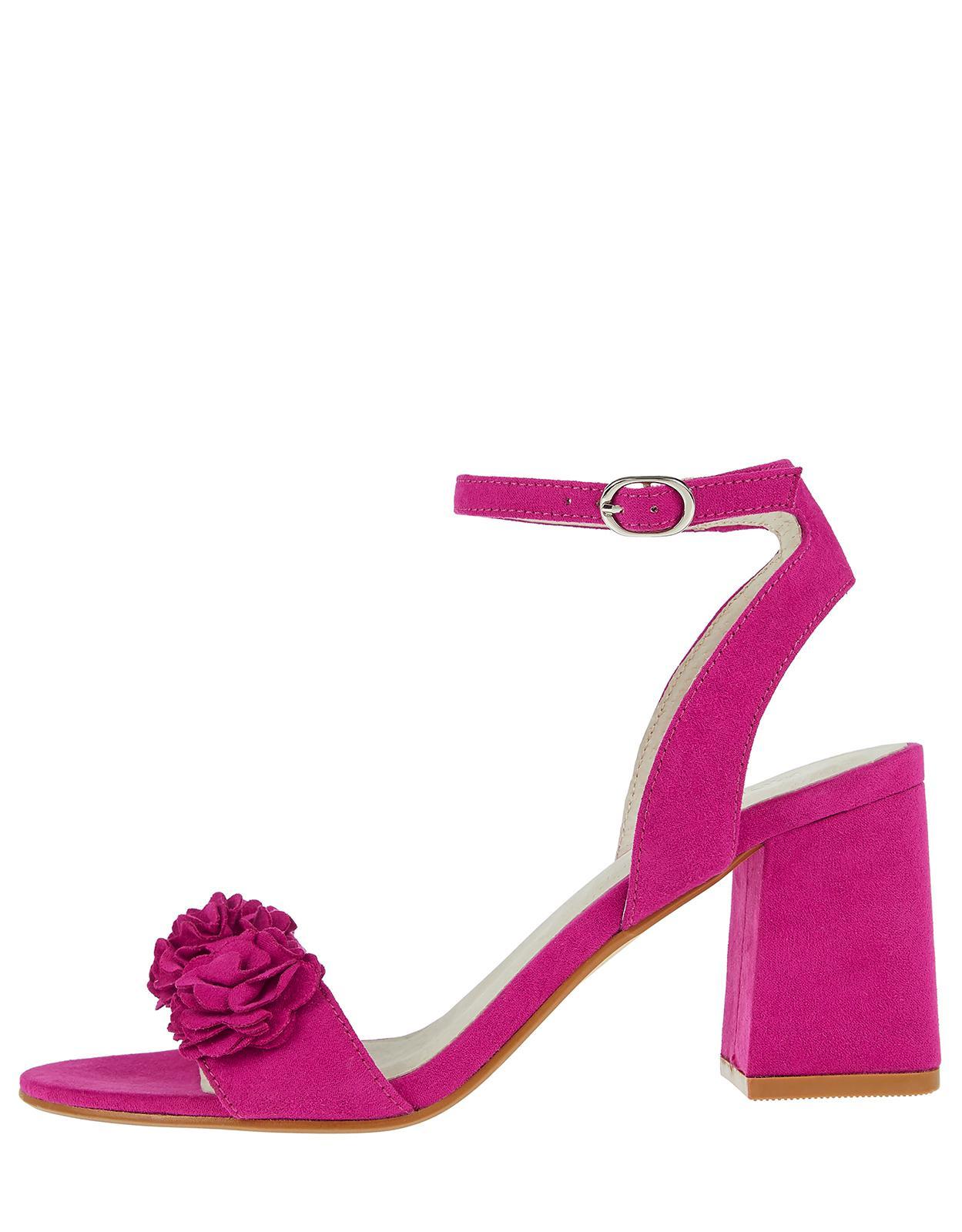 Monsoon Faith Flower Block Heel Sandals In Pink Lyst