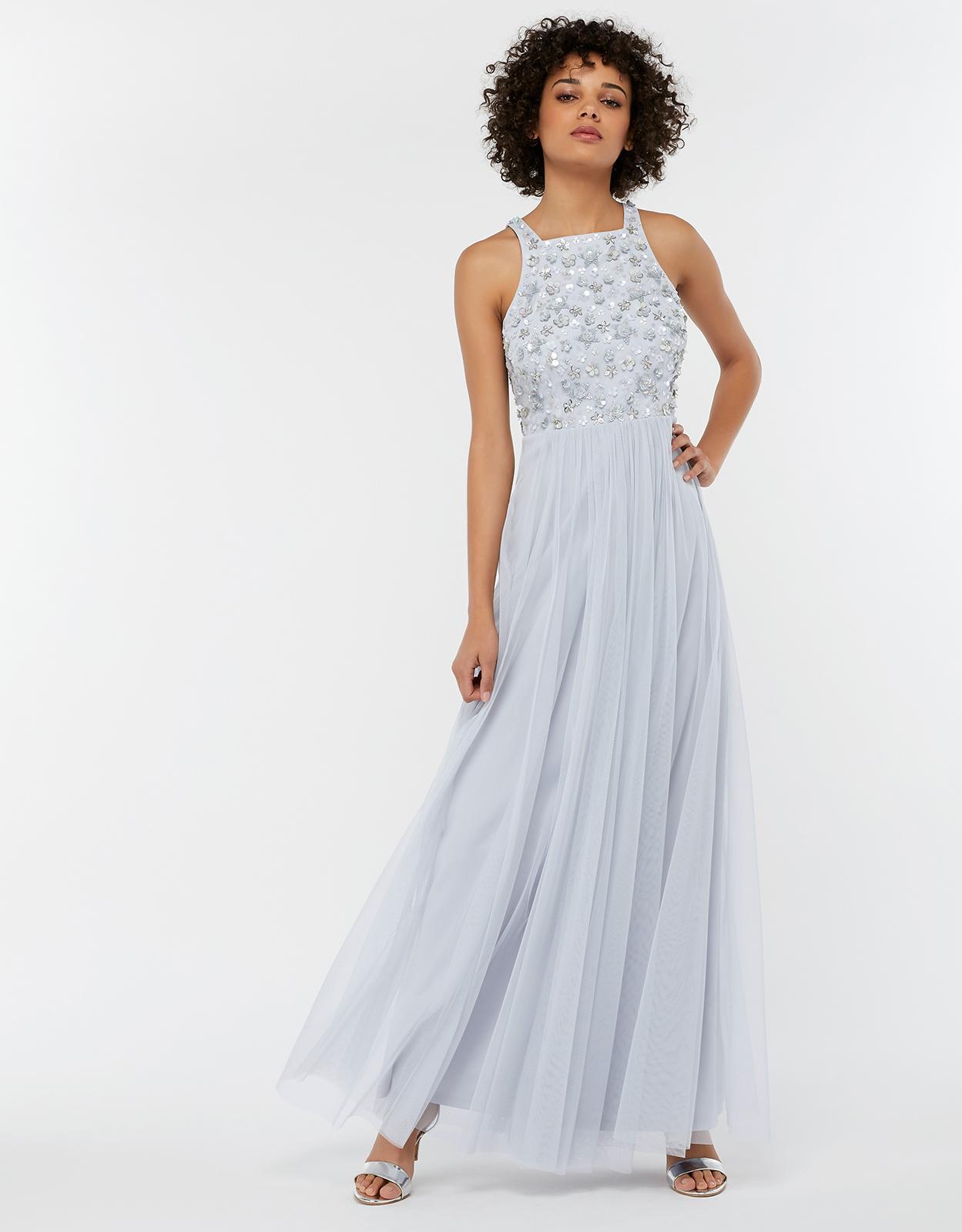 ffaa2843 Monsoon. Women's Blue Constance Sequin Embellished Maxi Bridesmaid Dress