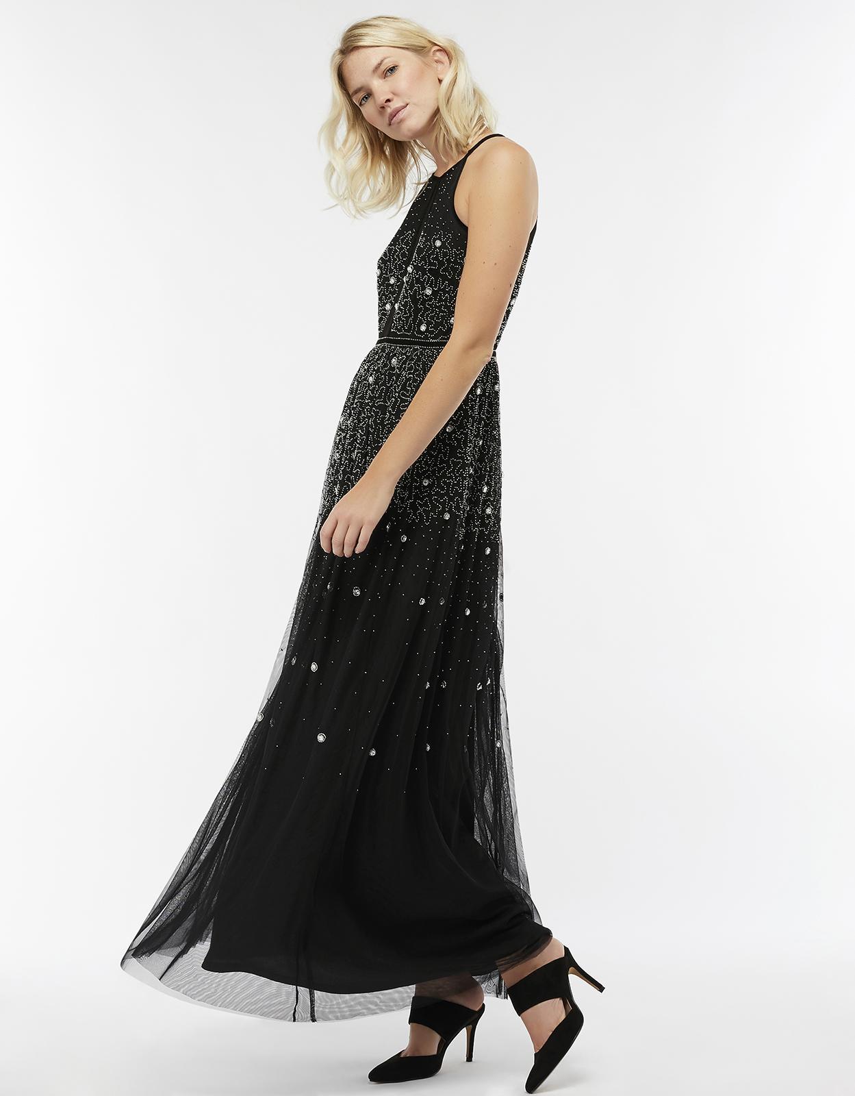 88e5e398d2c5 Monsoon Natalie Embellished Scatter Maxi Dress in Black - Lyst