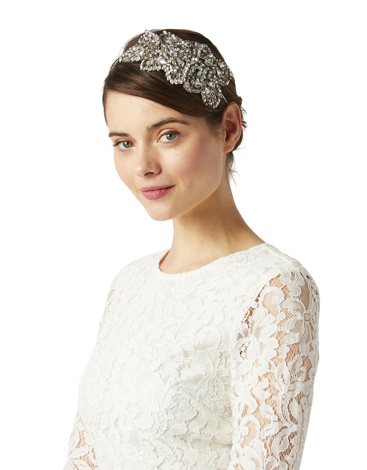 monsoon daisy embellished bridal headpiece in metallic - lyst