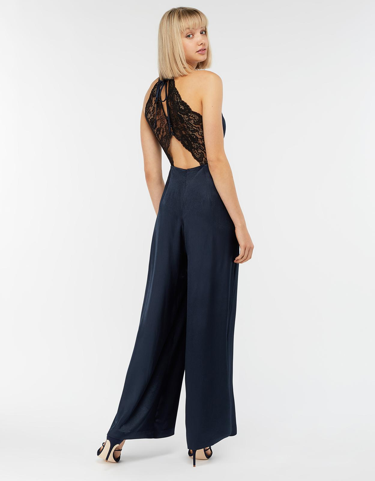 2d18a40fd86 Monsoon Samira Lace Back Jumpsuit in Blue - Lyst