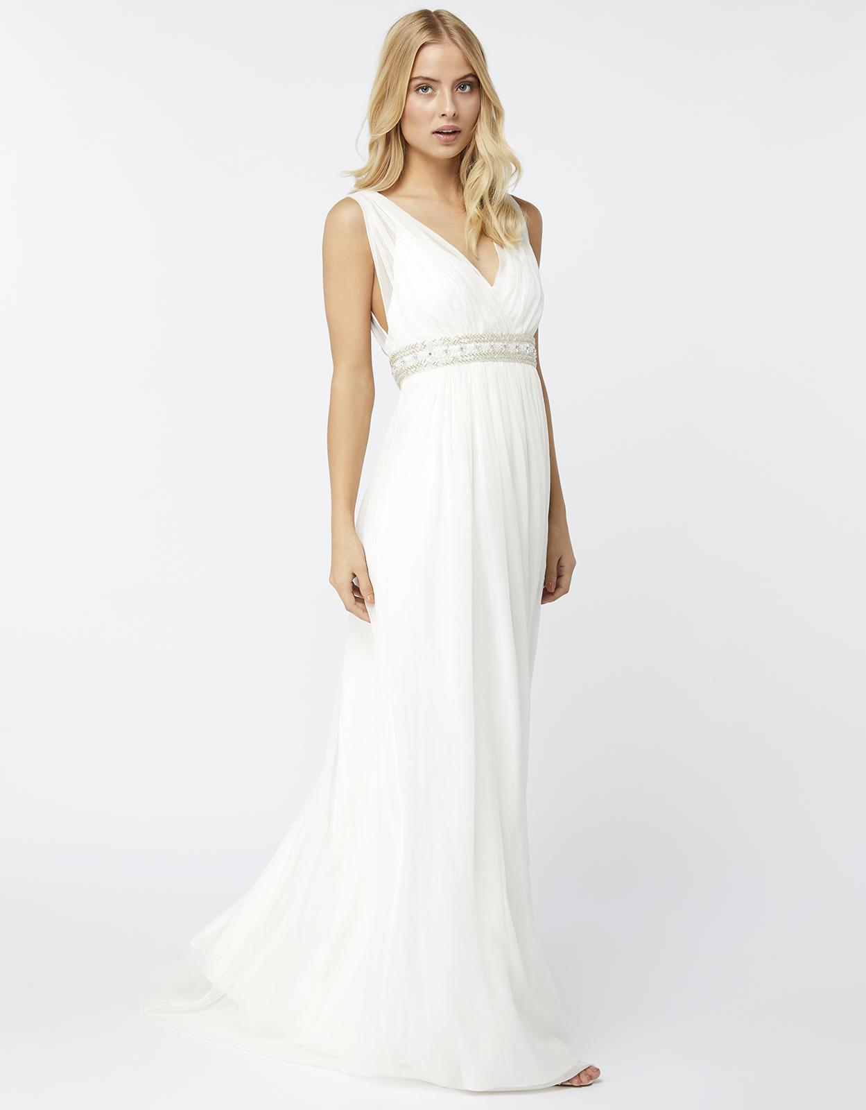 Lyst monsoon lottie maxi bridal dress in white for Monsoon wedding dresses uk