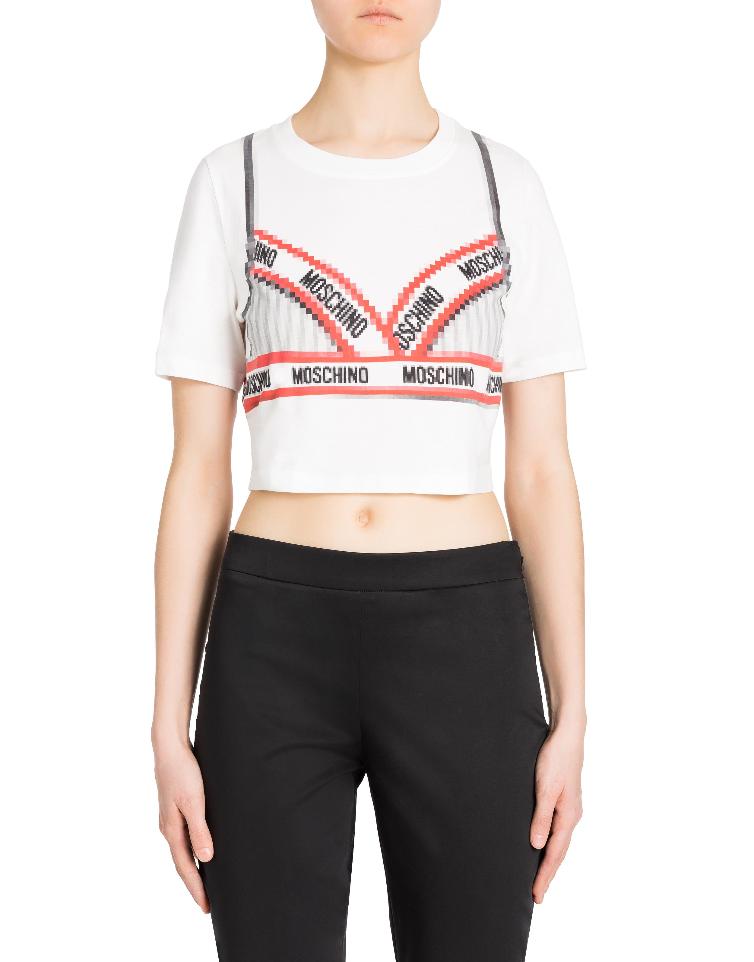 51d6ce589ea5 Moschino Pixel Capsule Cropped T-shirt in White - Lyst