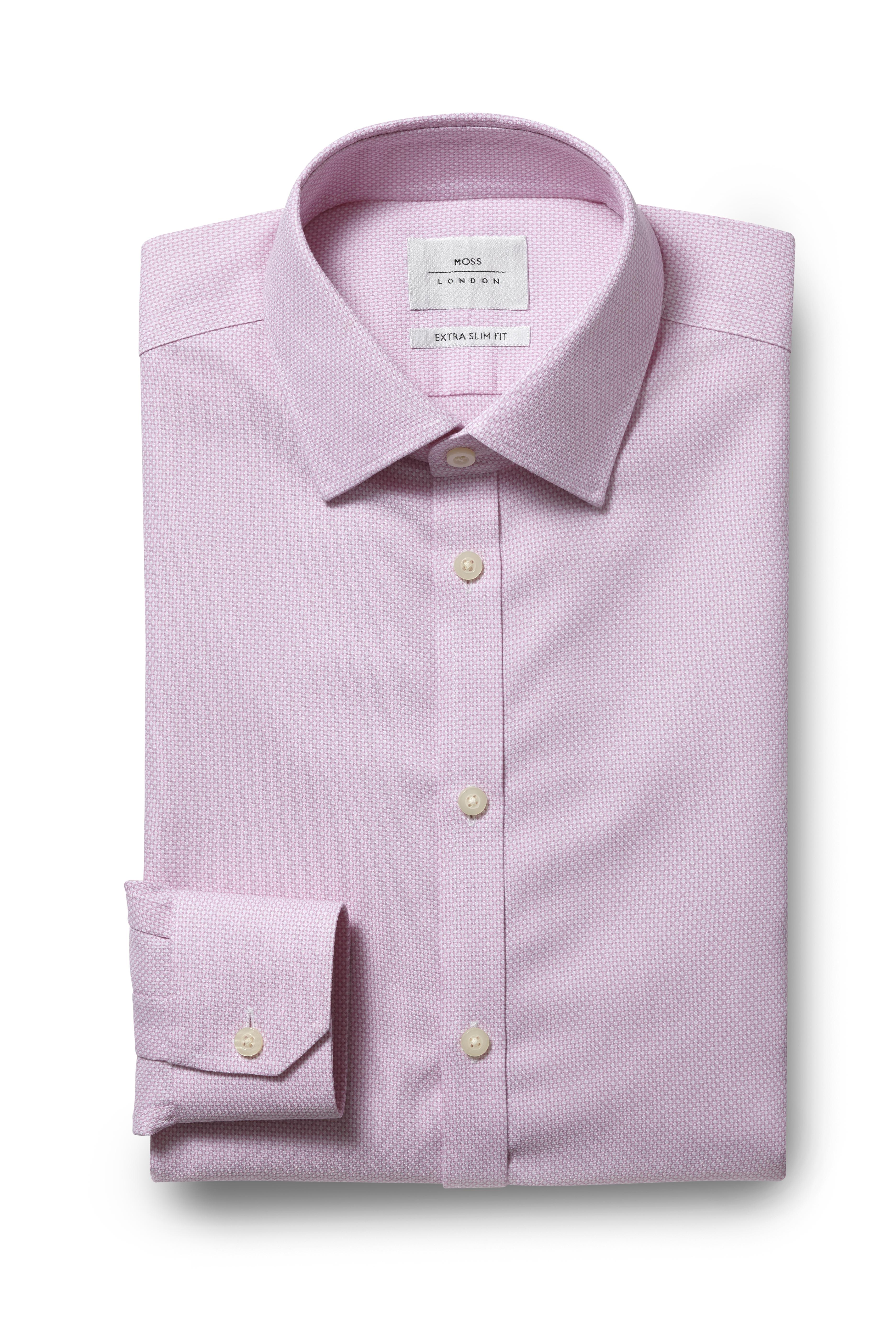 Lyst Moss Bros Extra Slim Fit Pink Single Cuff Honeycomb Texture
