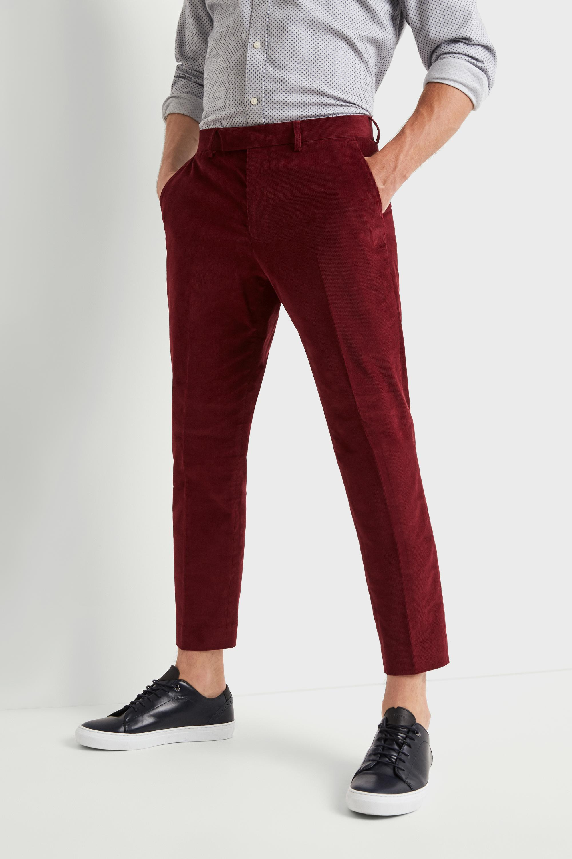 854717111d3 Moss London Skinny Fit Tapered Leg Red Corduroy Cropped Trousers in ...