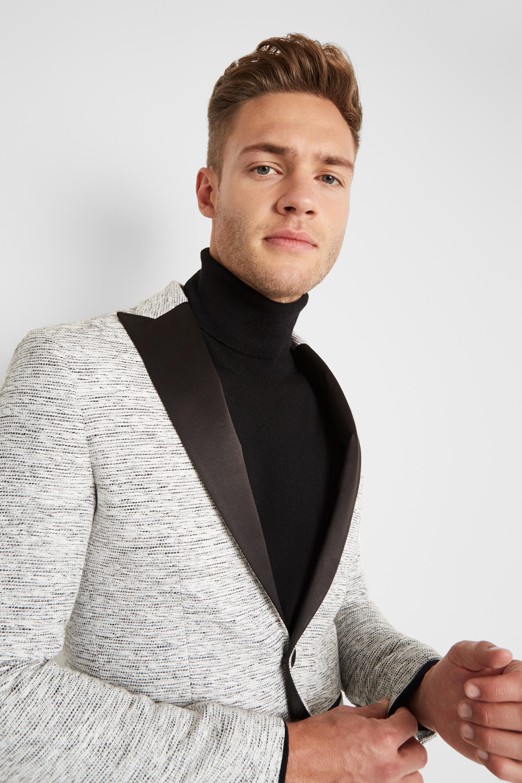 0759bee5ddee Moss London - Skinny Fit White Slub Jacket for Men - Lyst. View fullscreen