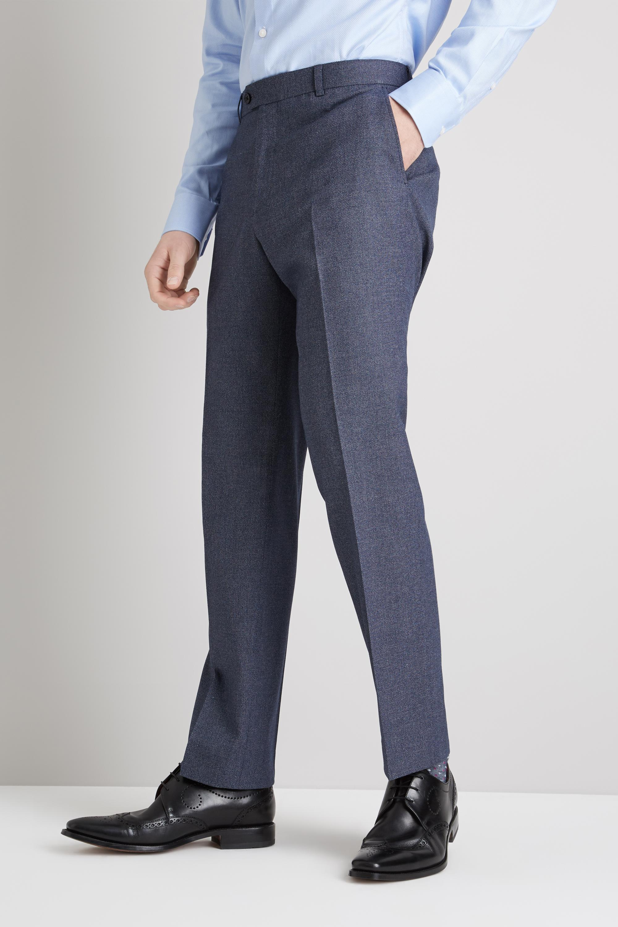 7f6f25f881ee4 Moss Esq. Regular Fit Navy Salt And Pepper Trousers in Blue for Men ...