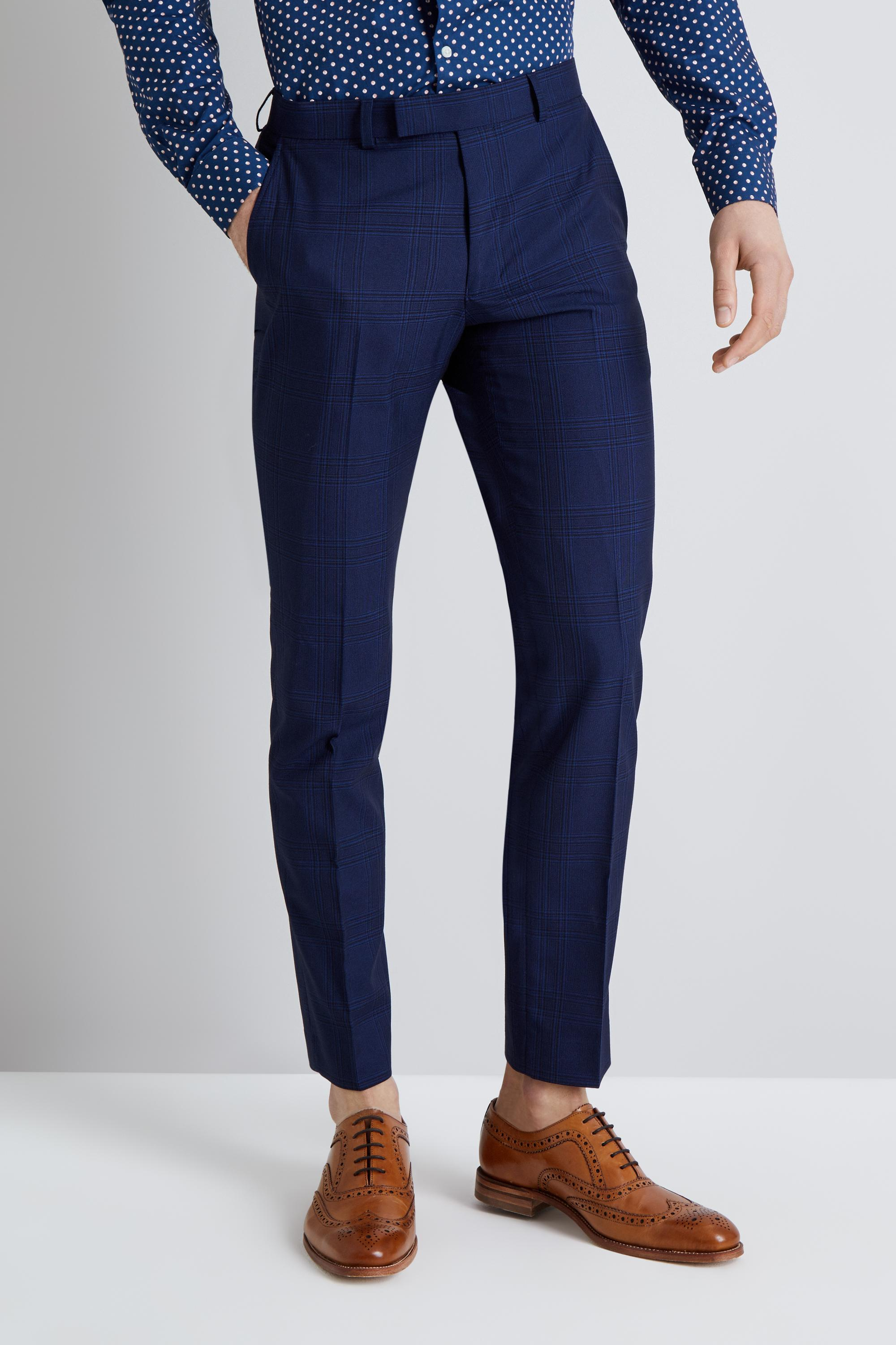 5cc2d50e5d5b0 Moss London Skinny Fit Blue Check Trousers in Blue for Men - Lyst