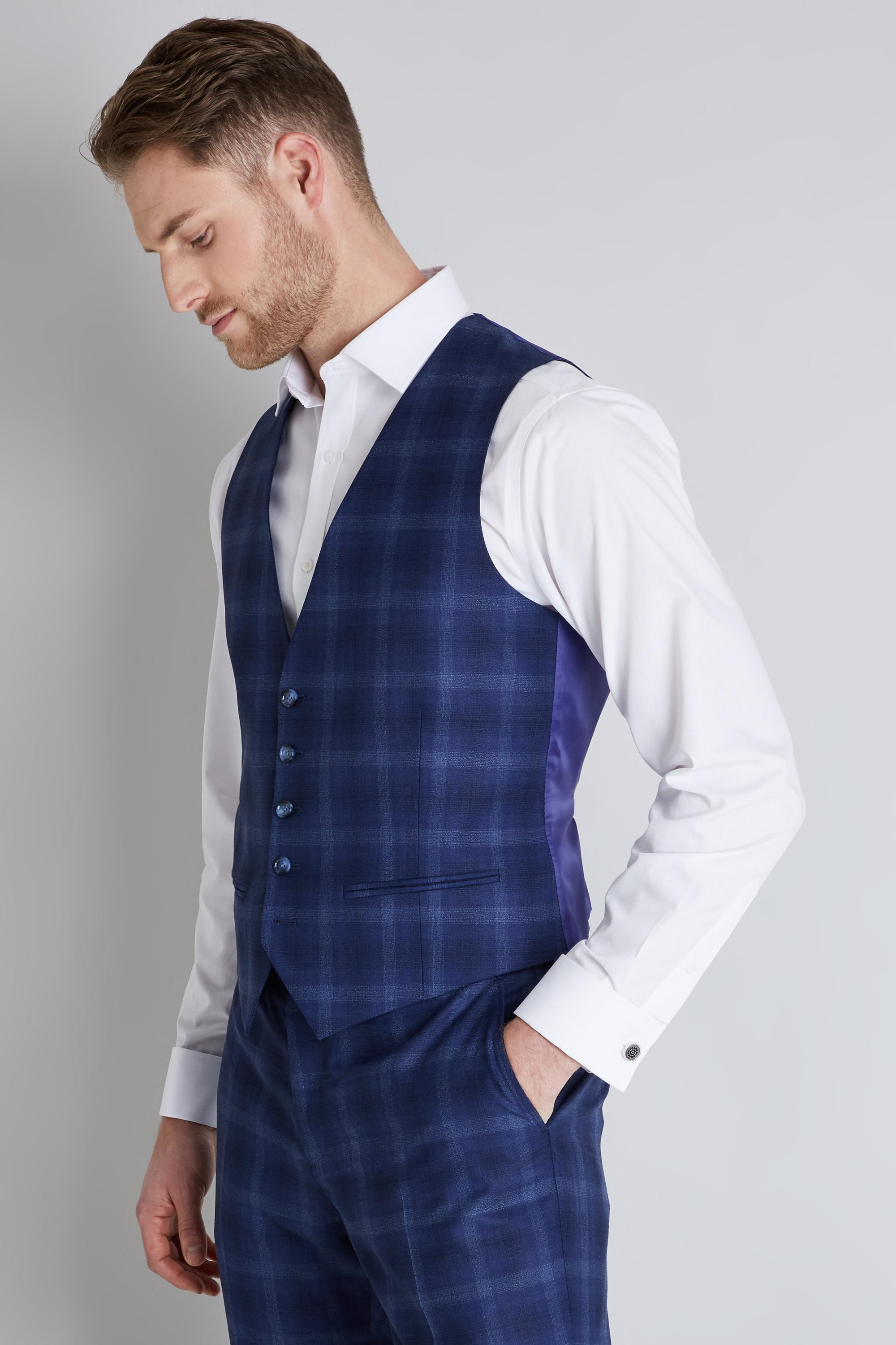 f68217197 Ted Baker Tailored Fit Blue Bold Check Waistcoat in Blue for Men - Lyst