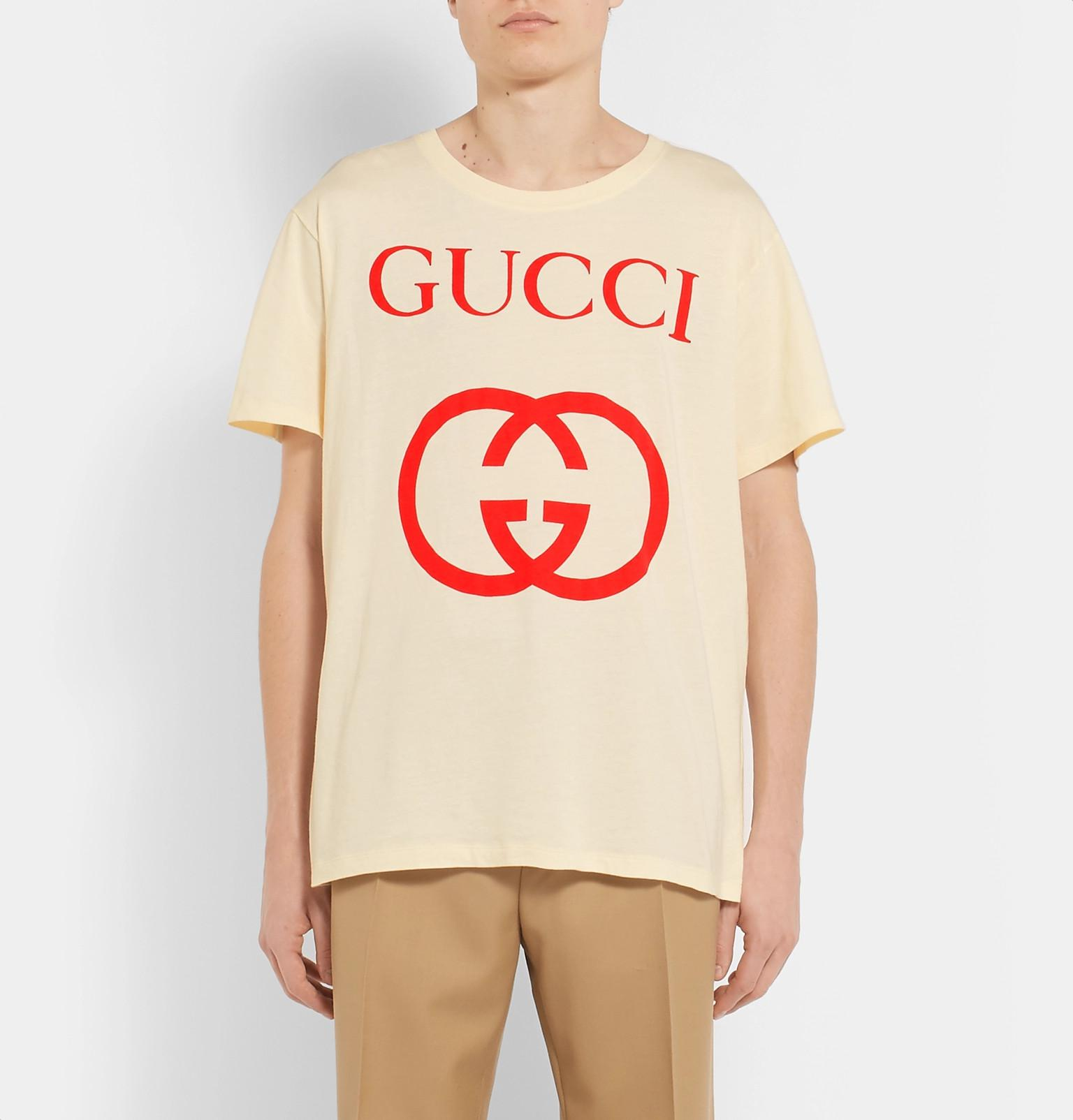 4e6091ce8 Gucci - White Logo-print Cotton-jersey T-shirt for Men - Lyst. View  fullscreen