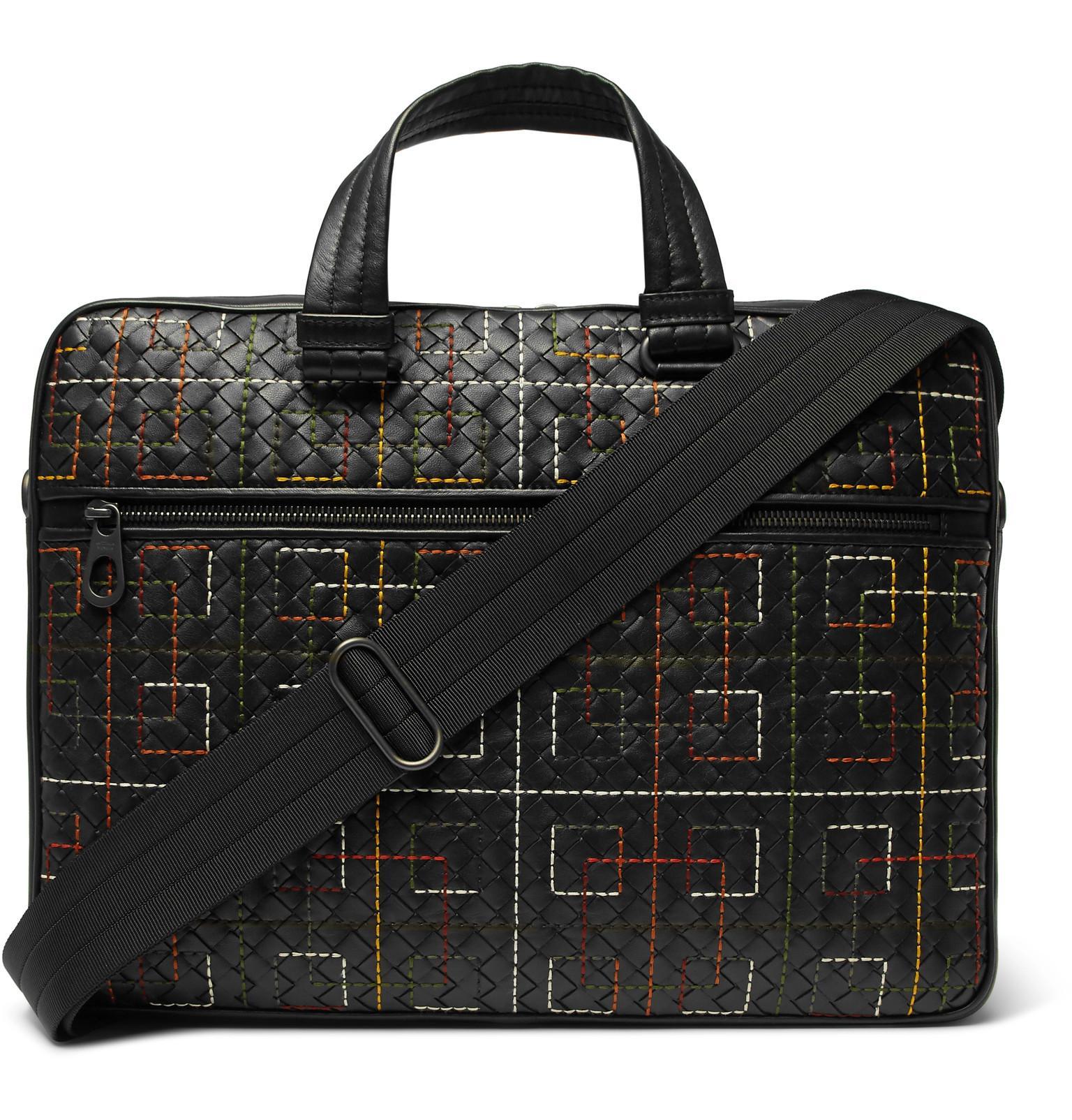 40944ff35a19 Bottega Veneta Embroidered Intrecciato Leather Briefcase in Black ...