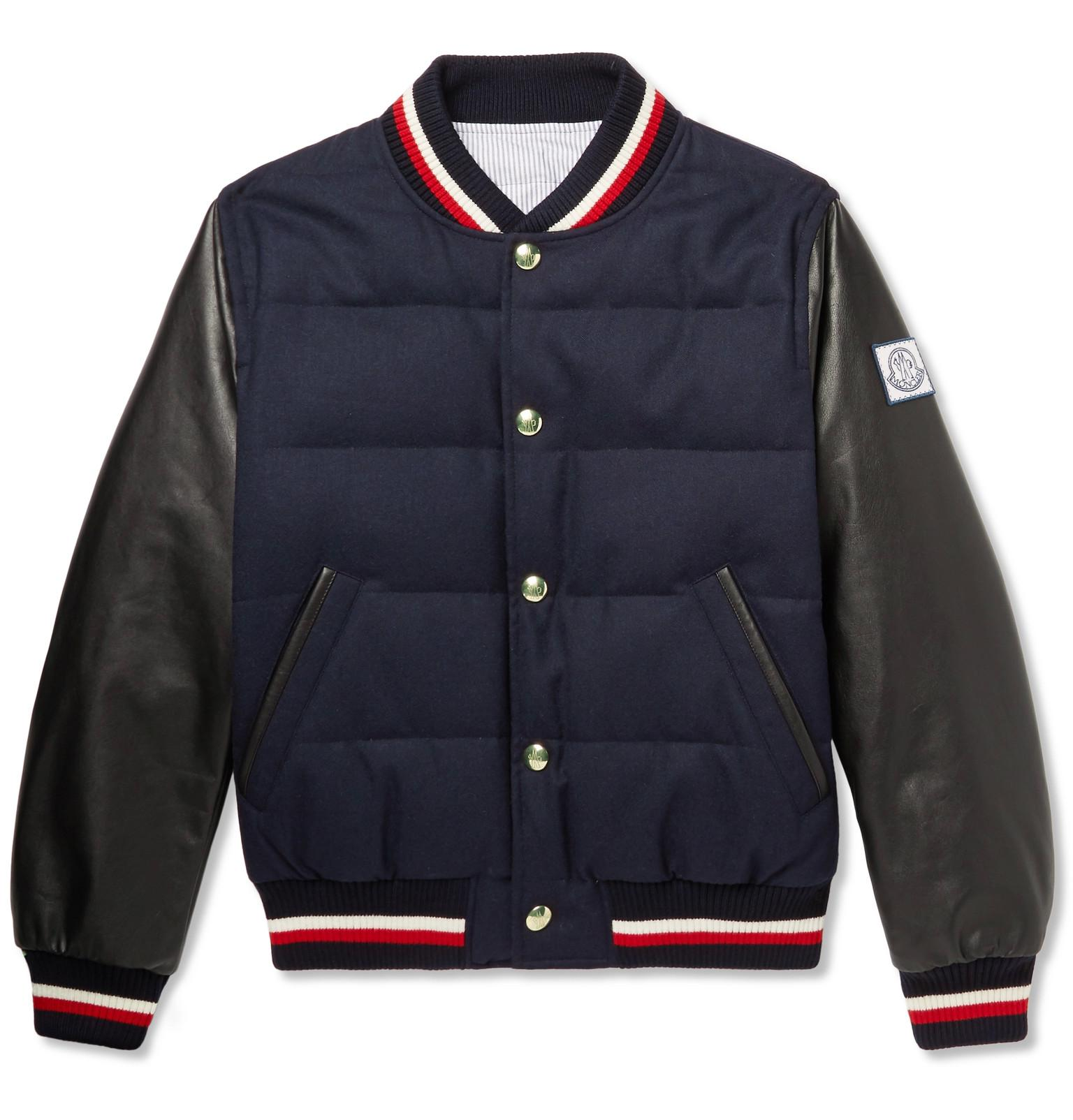 5509894f2e26 Moncler Gamme Bleu Quilted Wool And Leather Down Bomber Jacket in ...